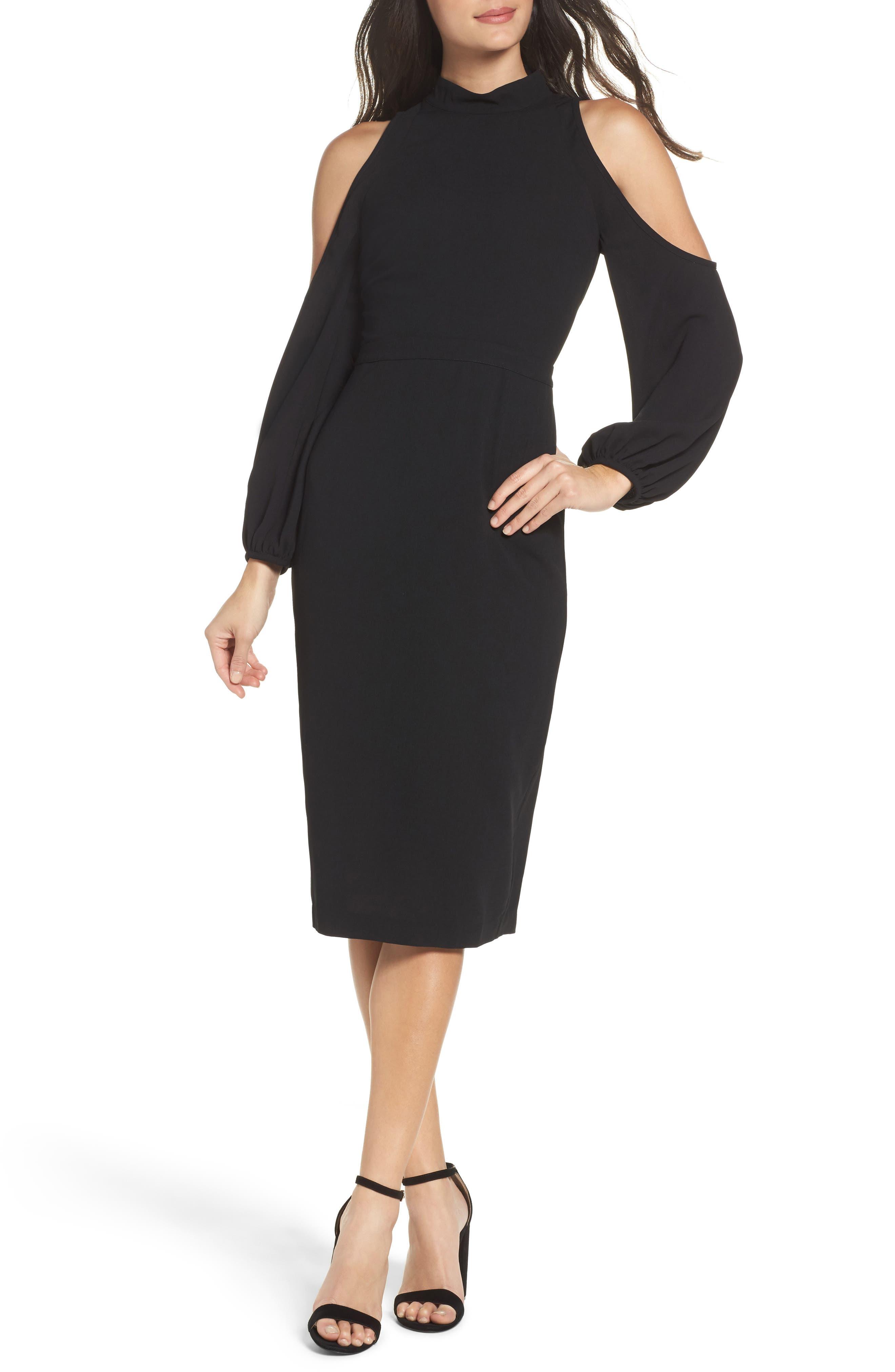 Power Shoulder Sheath Dress,                             Main thumbnail 1, color,                             001