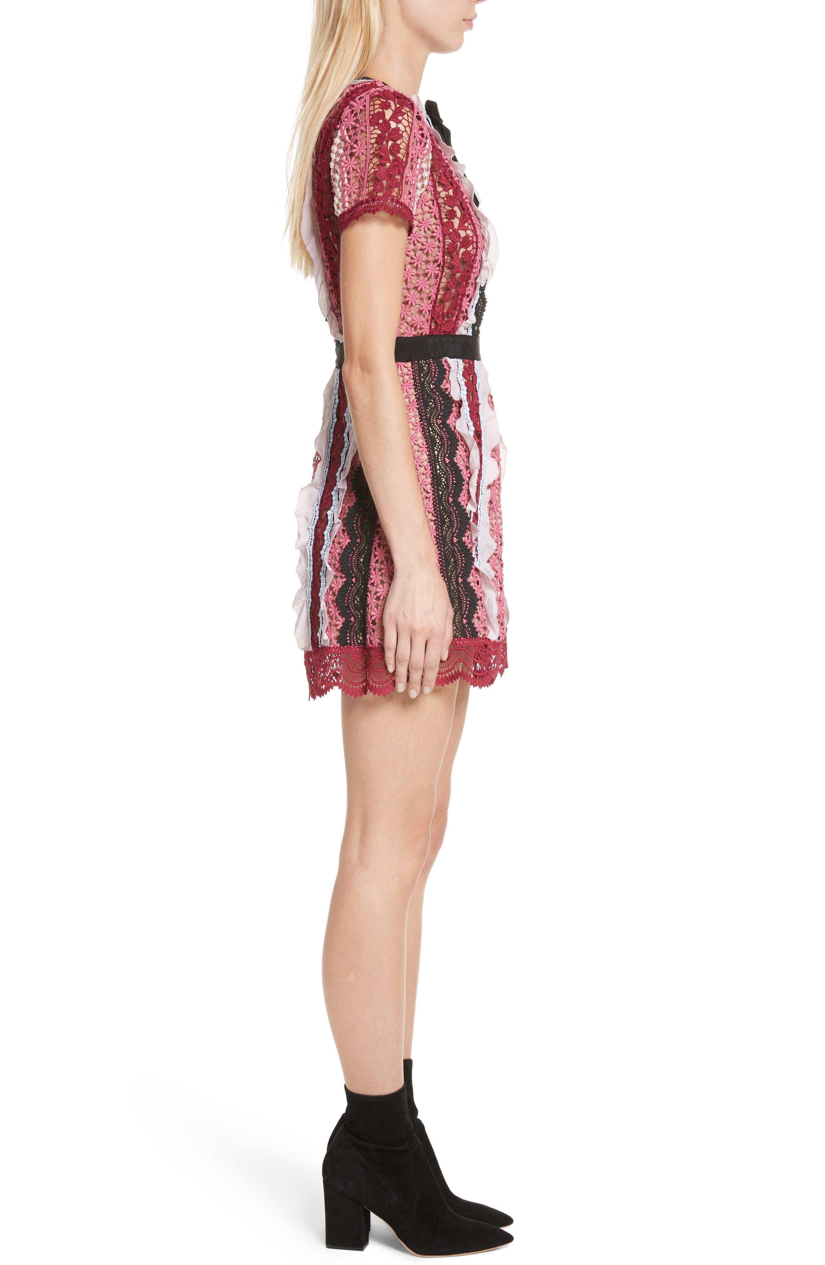 Paneled Bellis Lace Minidress,                             Alternate thumbnail 3, color,                             650