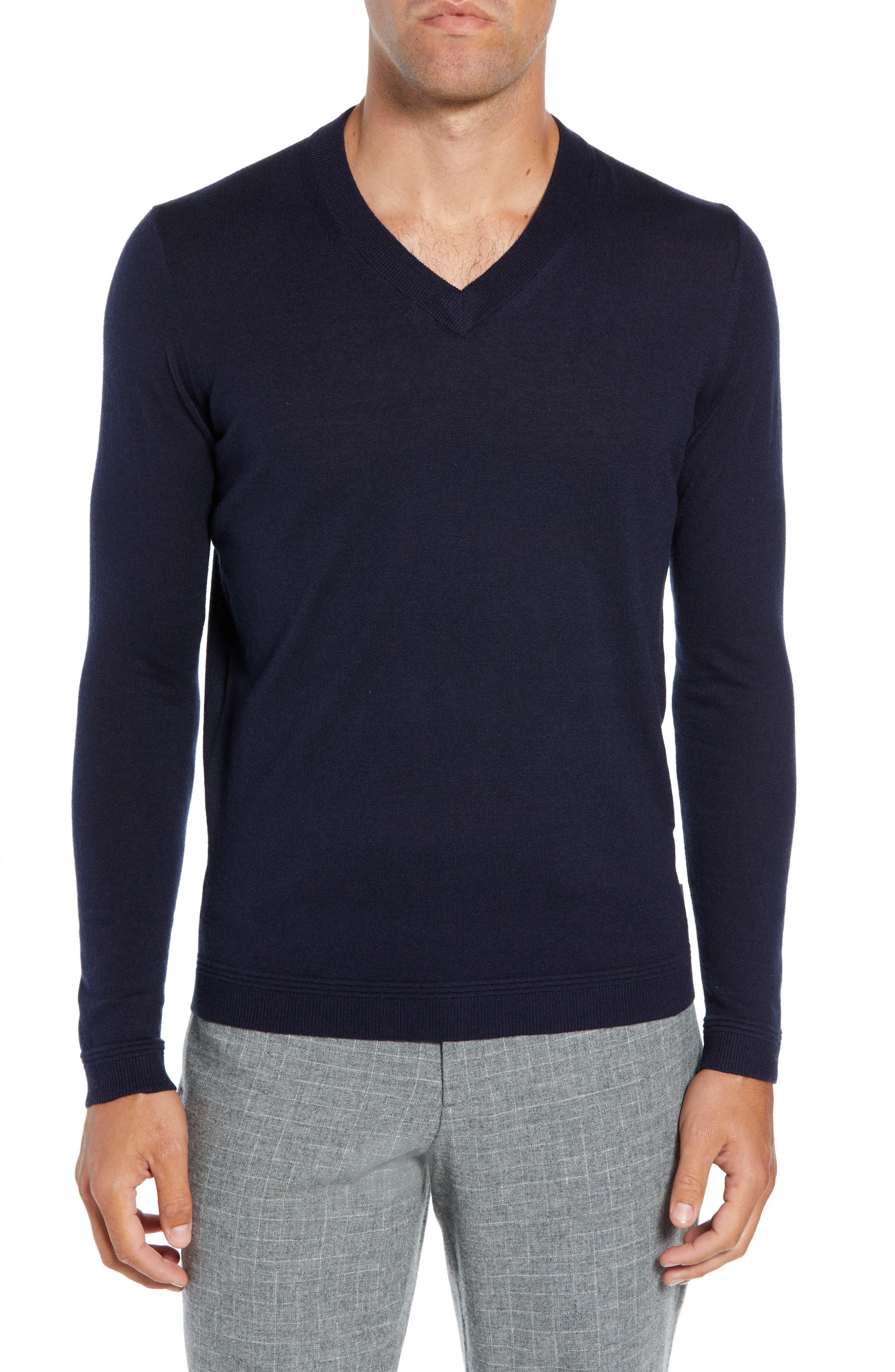 Ted Baker London Noel Slim Fit V-Neck Wool Blend Sweater, (m) - Blue