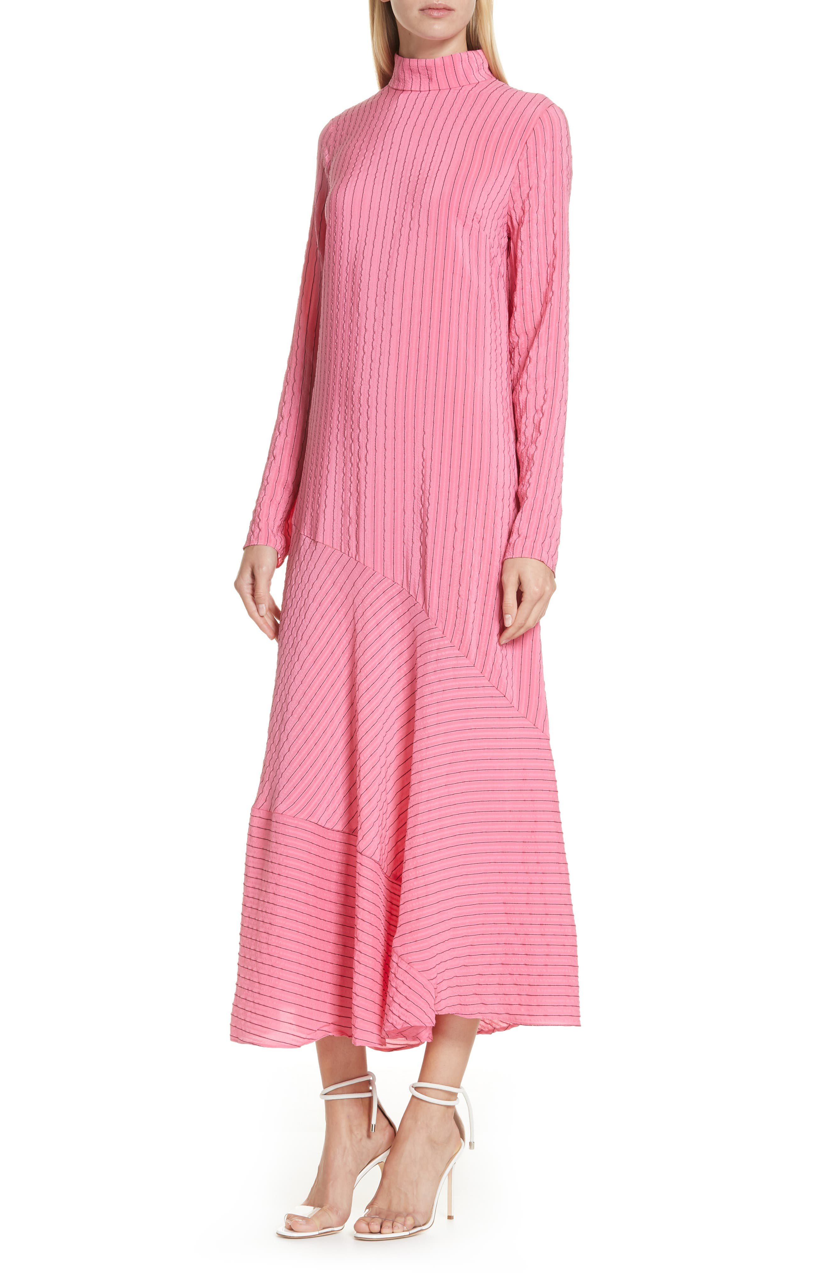 Seersucker Silk Blend Dress,                             Alternate thumbnail 4, color,                             650