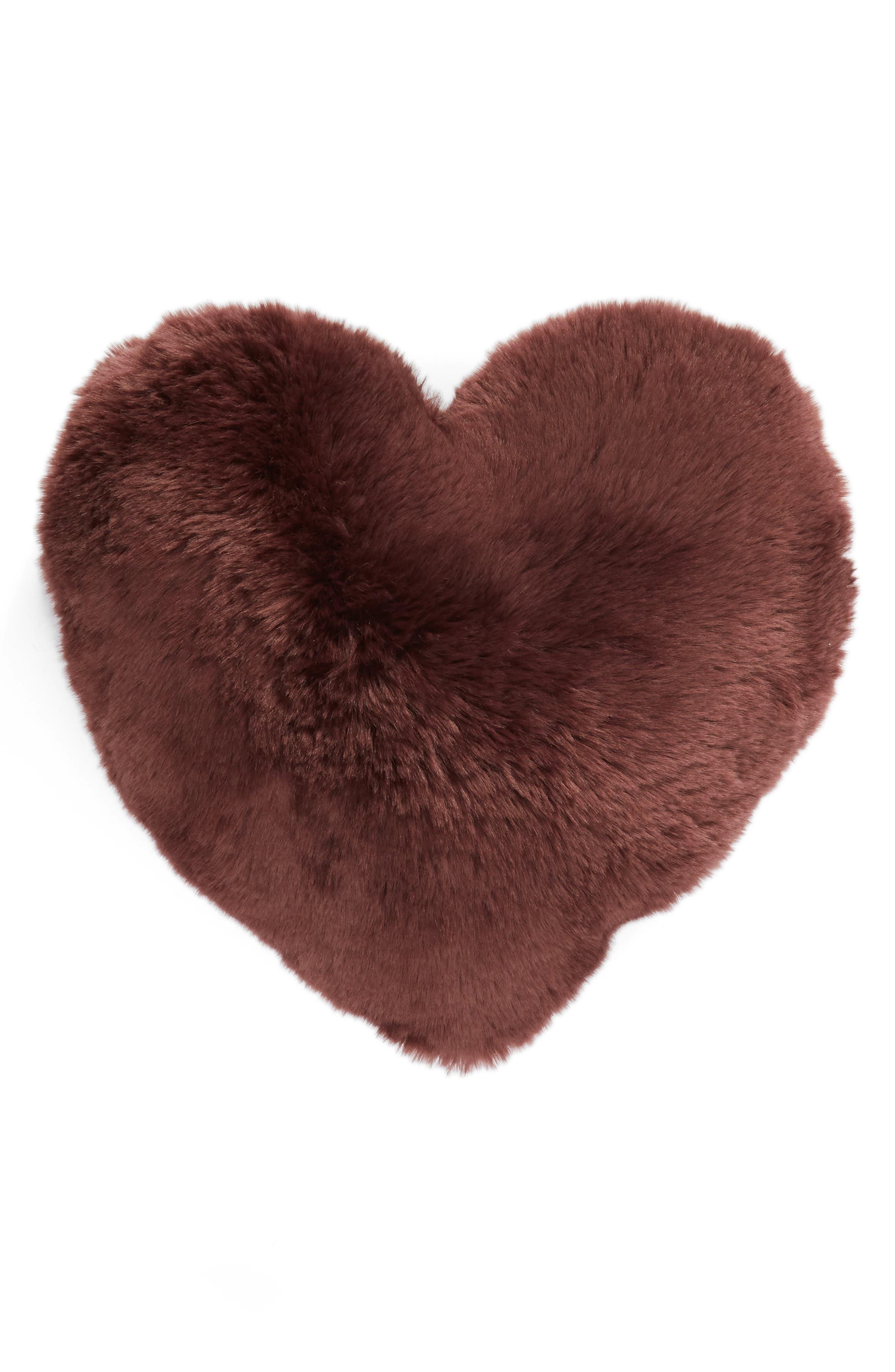 'Cuddle Up' Faux Fur Heart Accent Pillow,                             Alternate thumbnail 2, color,                             BURGUNDY STEM