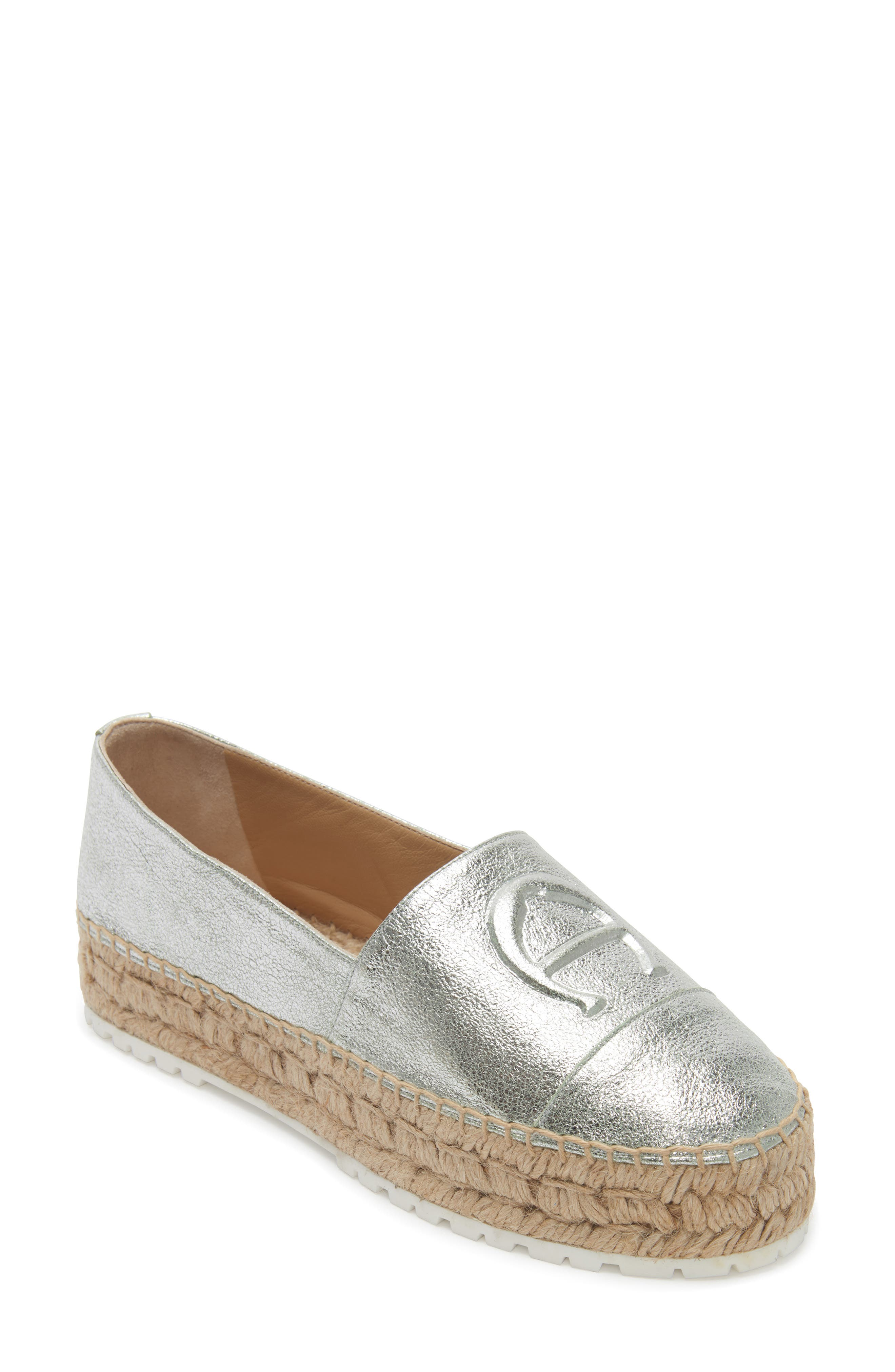 Wade Platform Espadrille,                             Main thumbnail 1, color,                             SILVER LEATHER