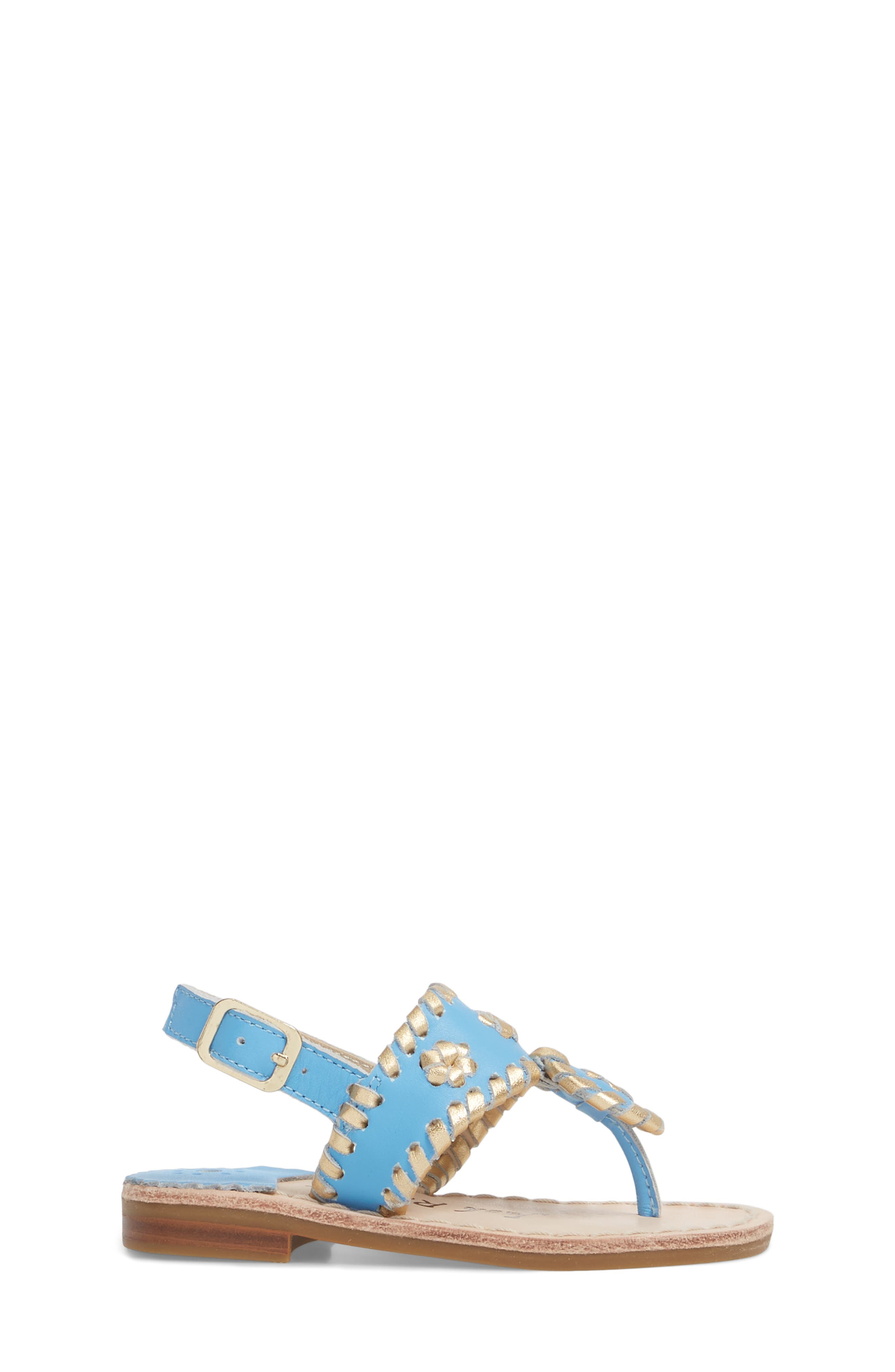 Little Miss Hollis Metallic Trim Sandal,                             Alternate thumbnail 3, color,                             FRENCH BLUE/ GOLD LEATHER