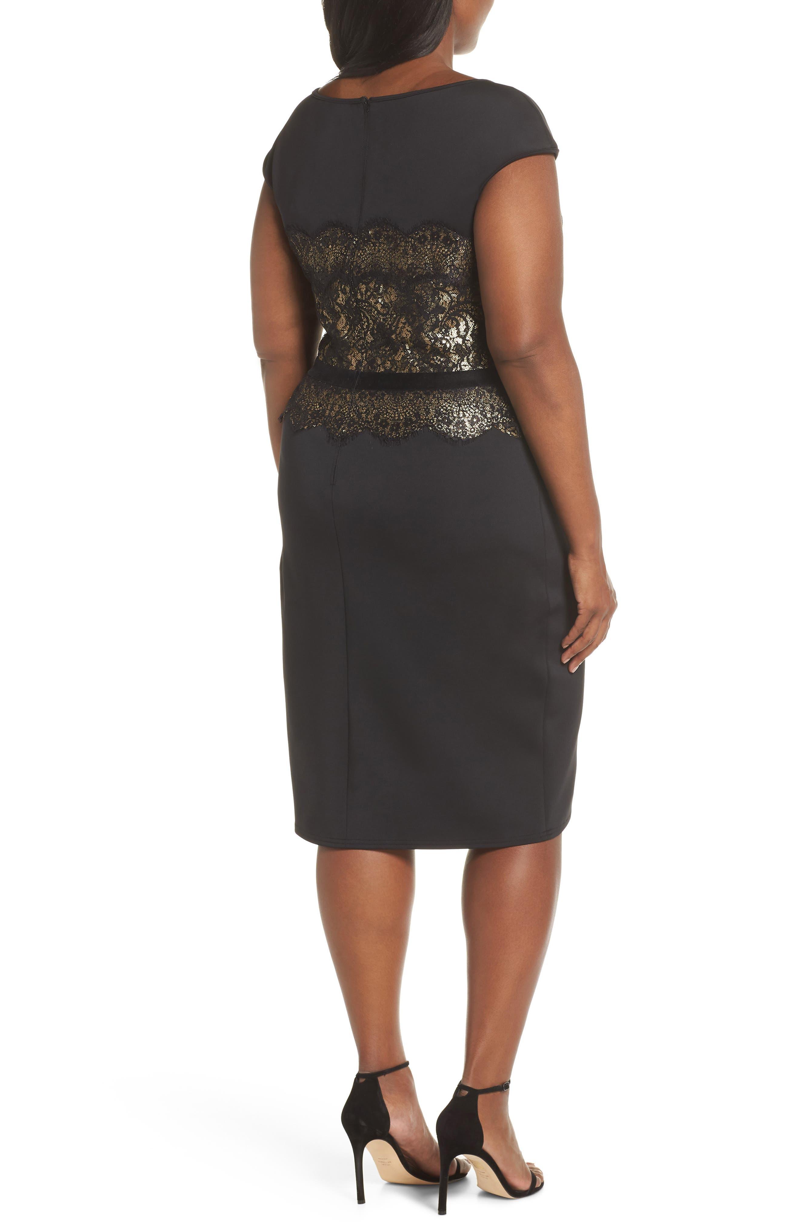 Lace Inset Scuba Dress,                             Alternate thumbnail 9, color,                             BLACK/ GOLD