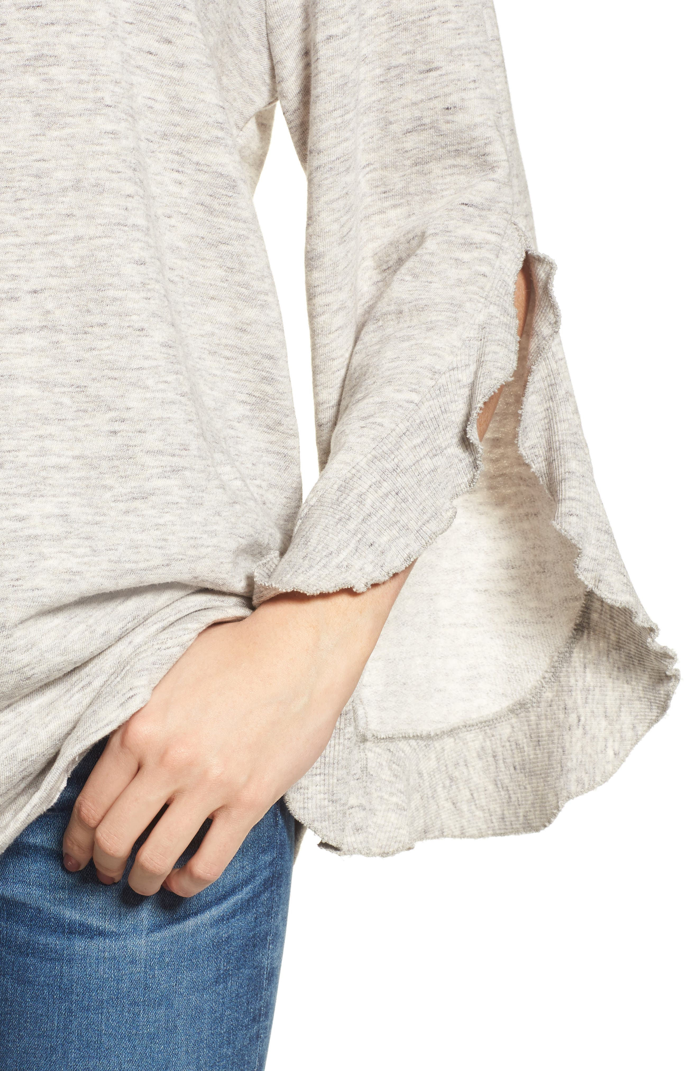Ruffle Split Sleeve Cotton Sweatshirt,                             Alternate thumbnail 7, color,