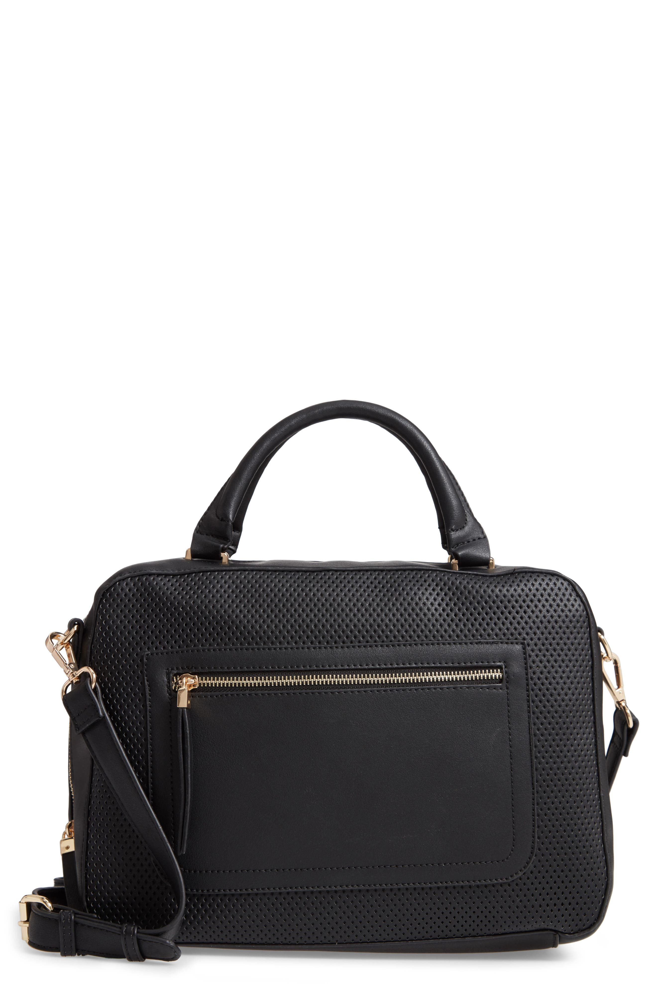 Kaylee Perforated Faux Leather Satchel,                         Main,                         color, 001