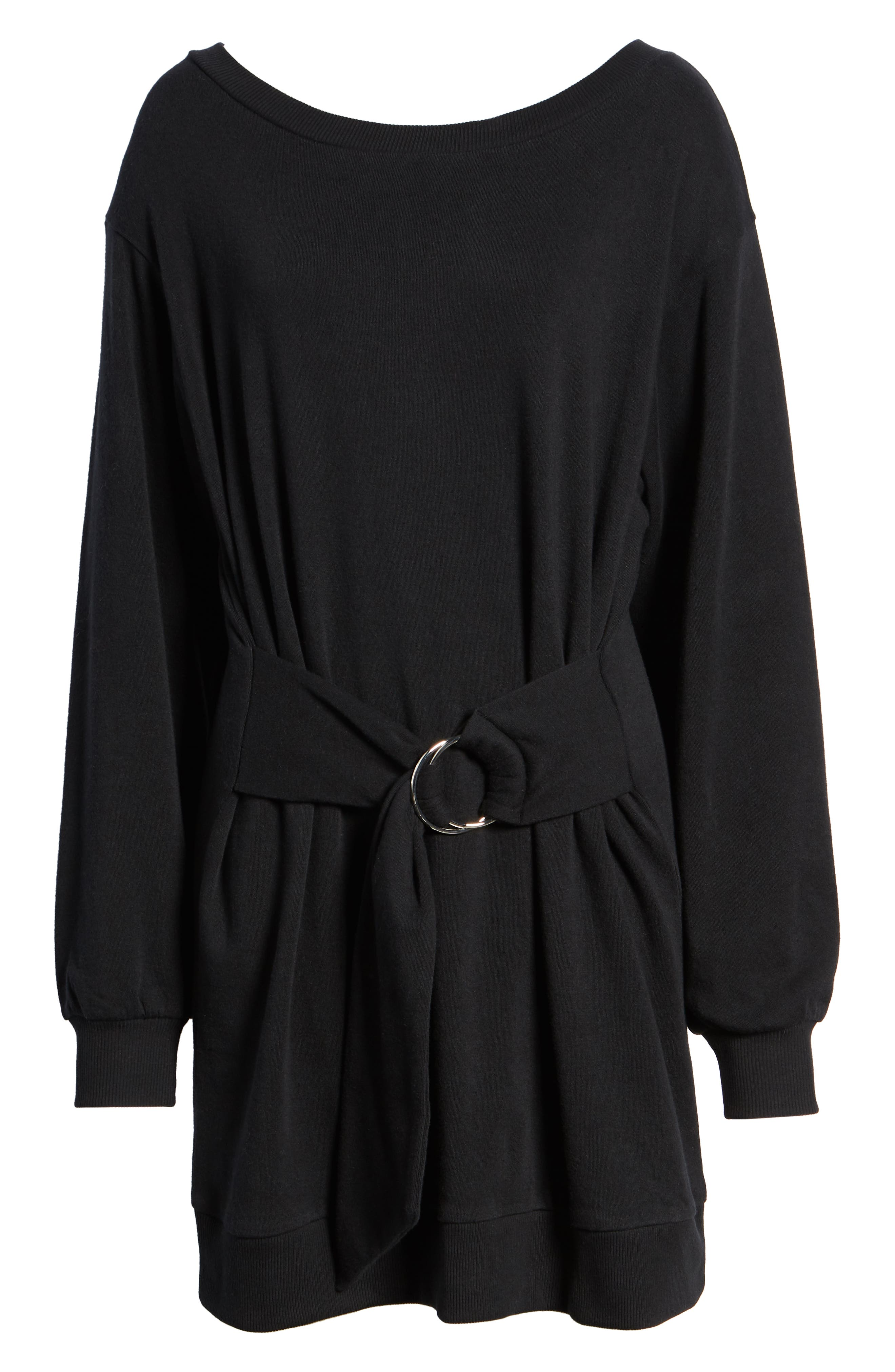 Belted Sweatshirt Dress,                             Alternate thumbnail 7, color,                             BLACK