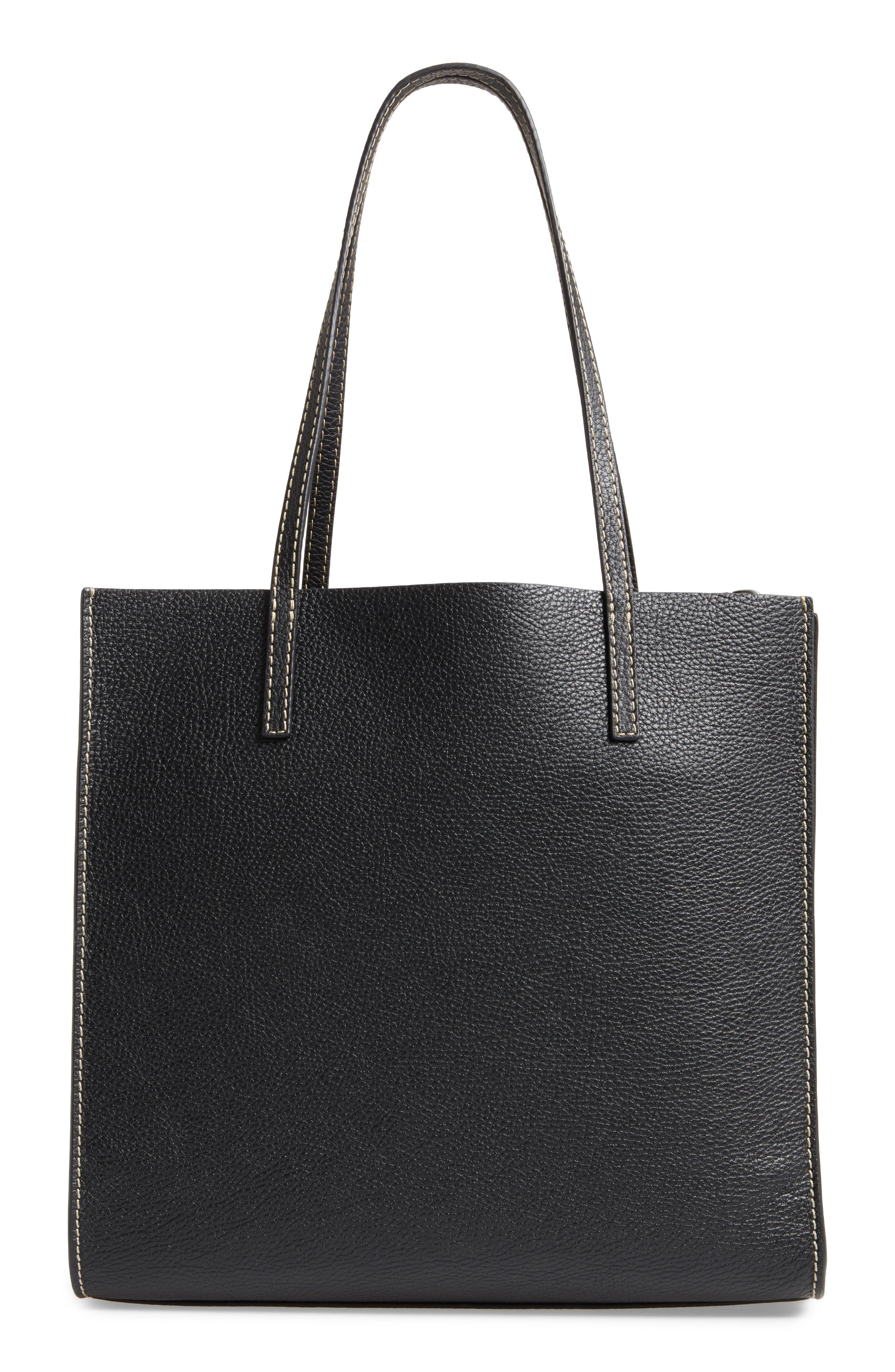 The Grind East/West Leather Shopper,                             Alternate thumbnail 3, color,                             BLACK