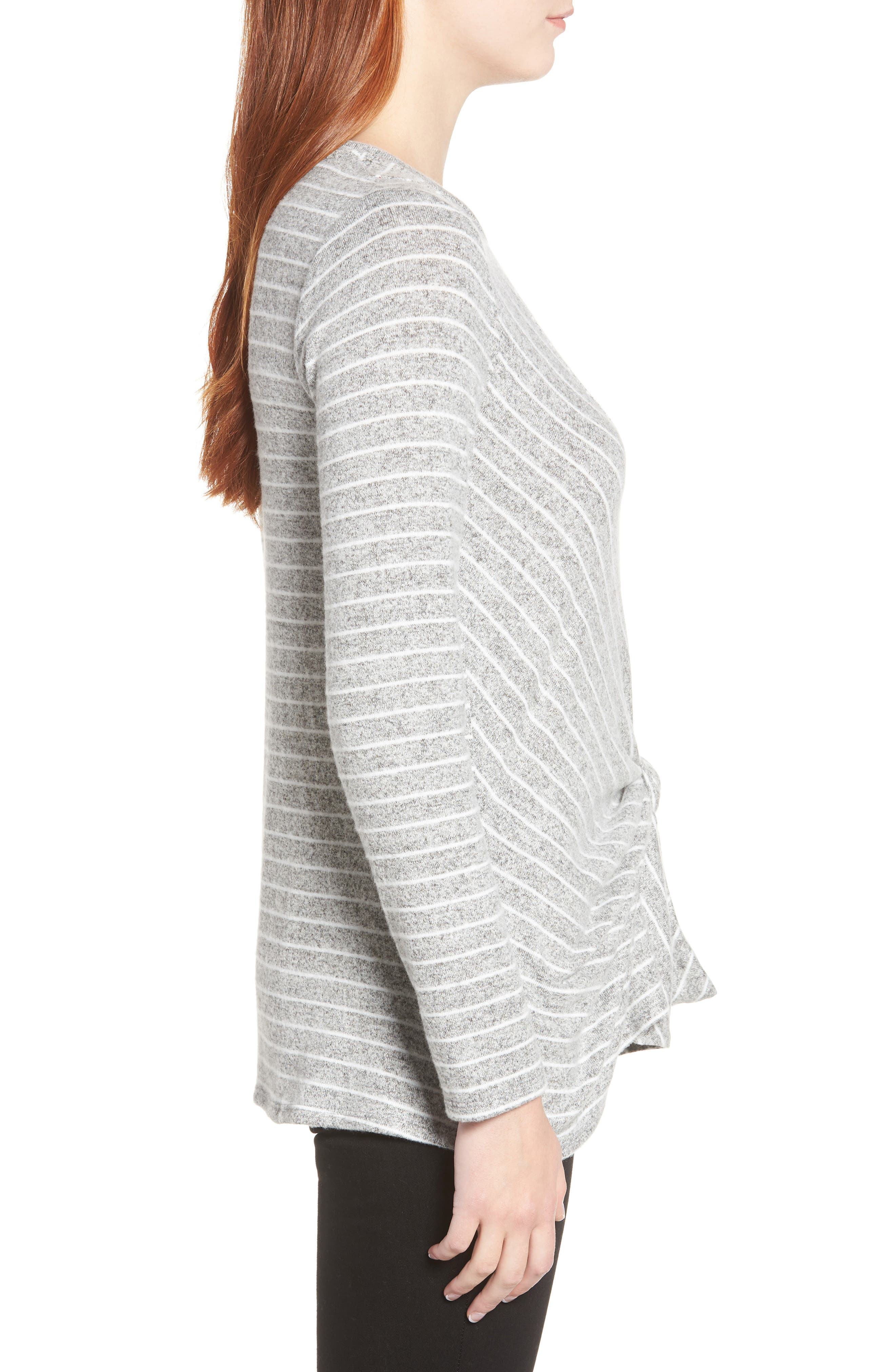 x Living in Yellow Lou Tie Front Fleece Sweater,                             Alternate thumbnail 3, color,                             GREY/ IVORY