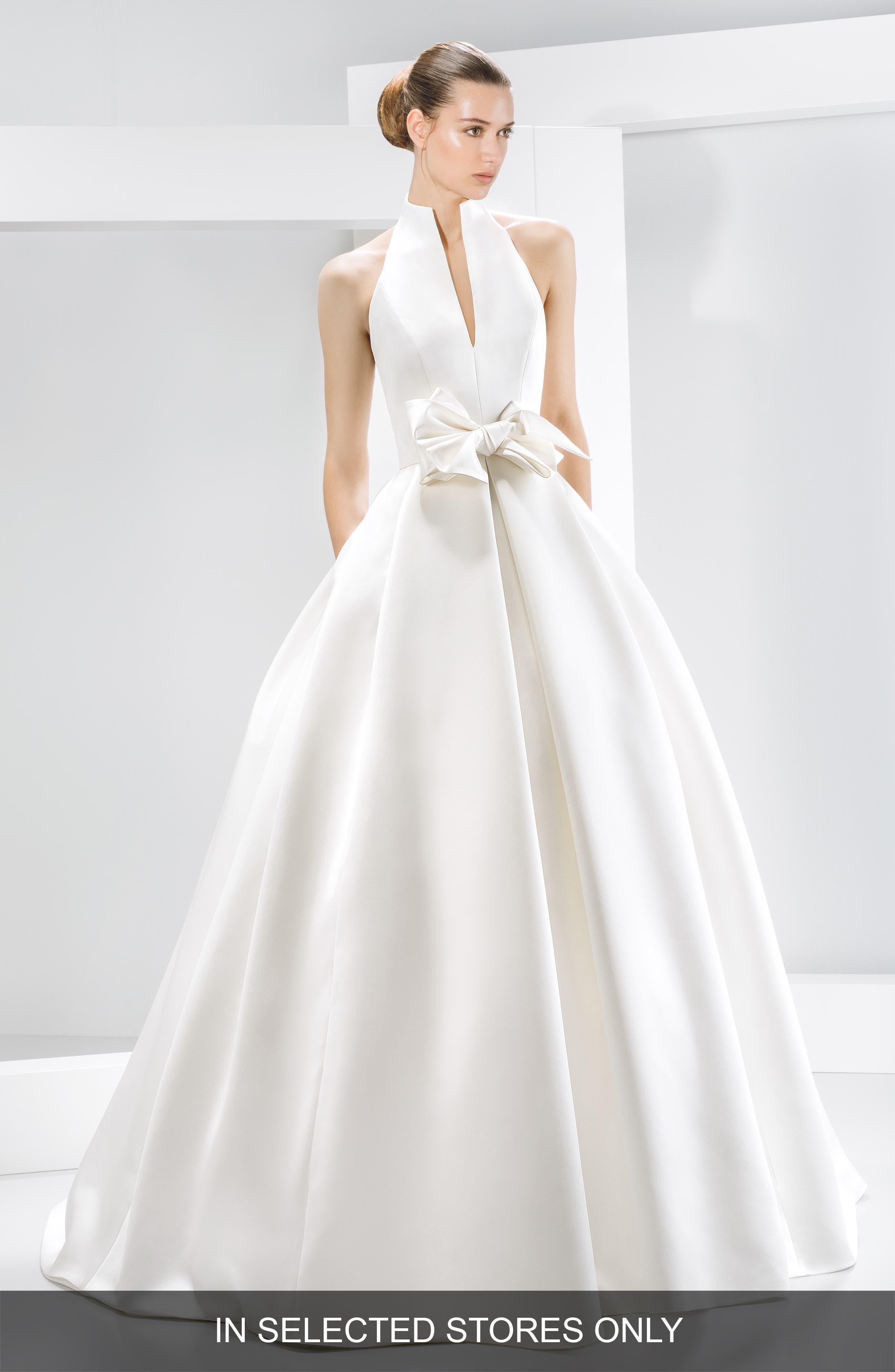 Jesus Peiro Bow Detail Satin Halter Dress