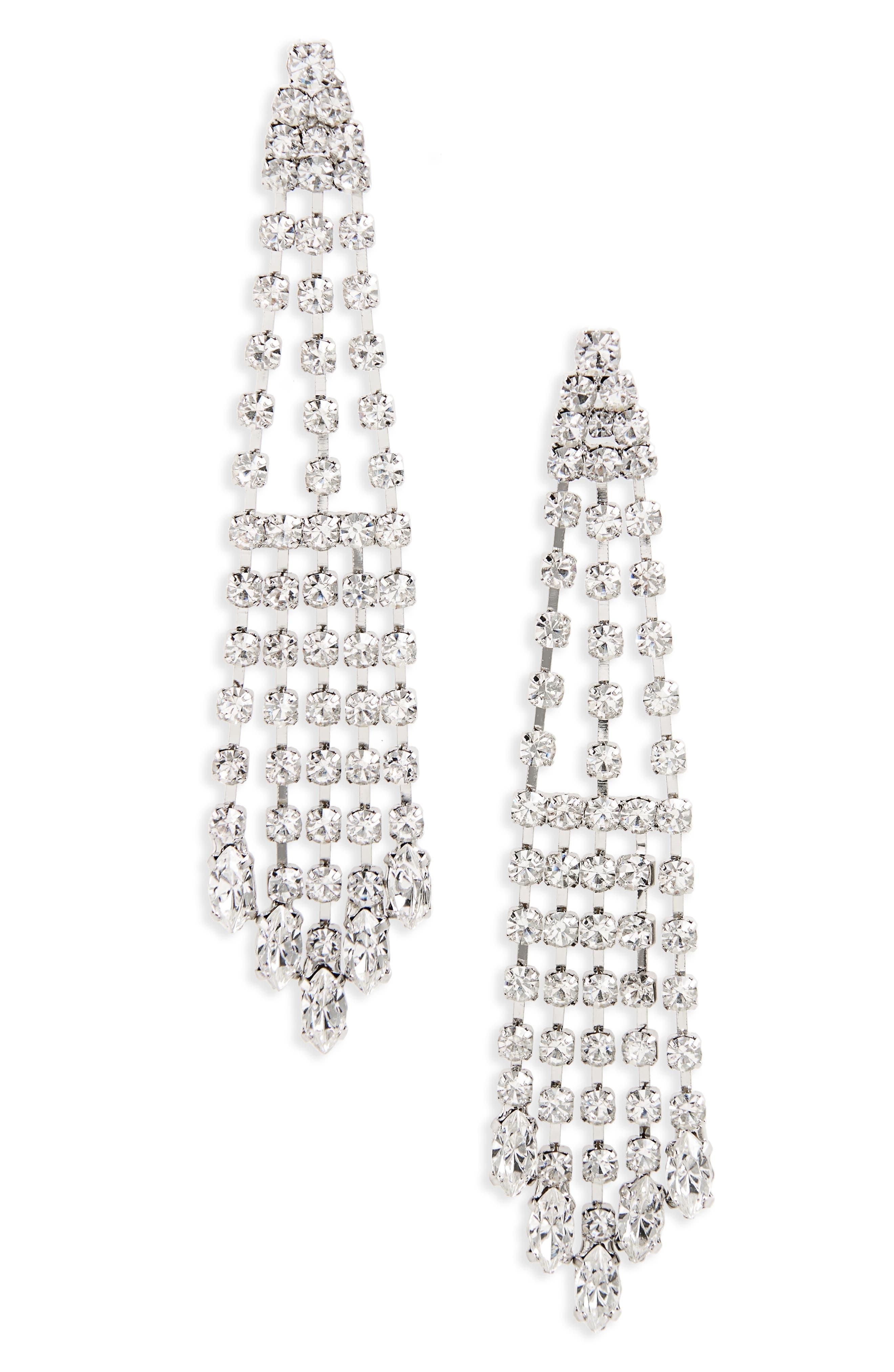 NINA Cascade Chandelier Earrings, Main, color, SILVER