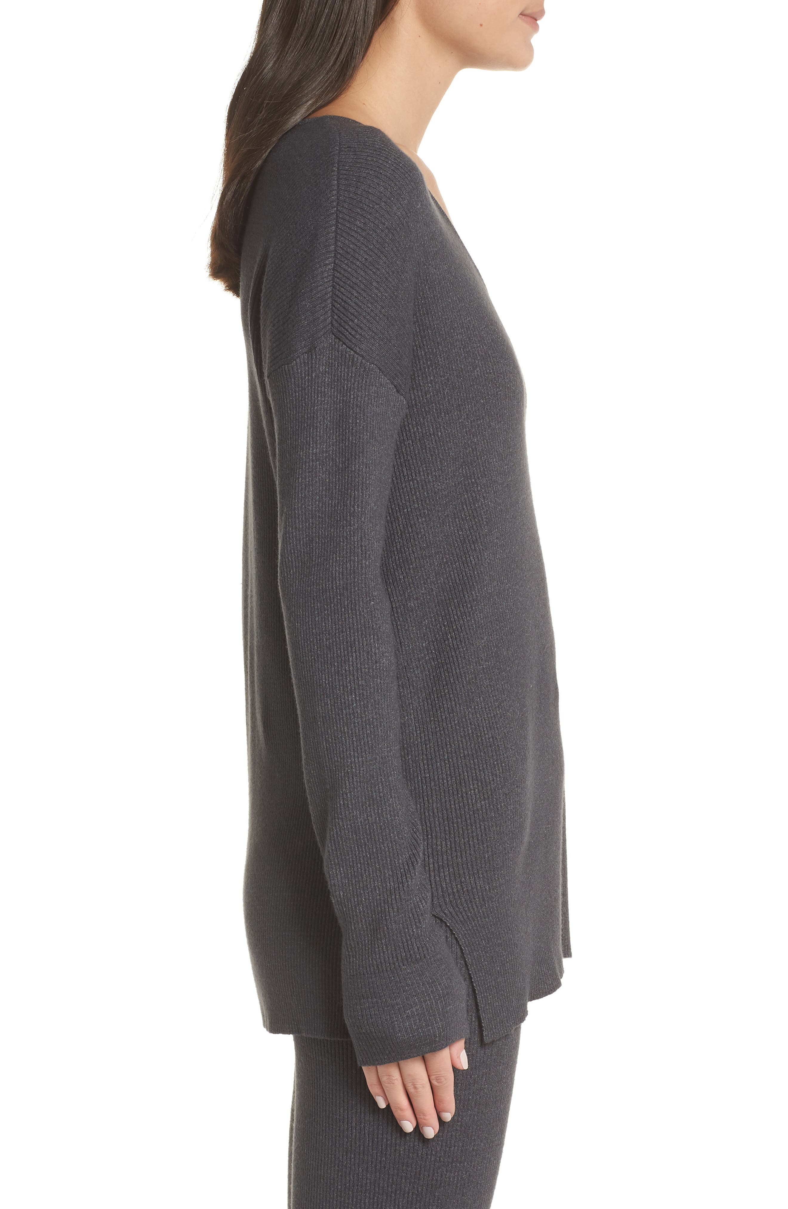 Rib Knit Pullover,                             Alternate thumbnail 3, color,                             GREY MED CHARCOAL HEATHER