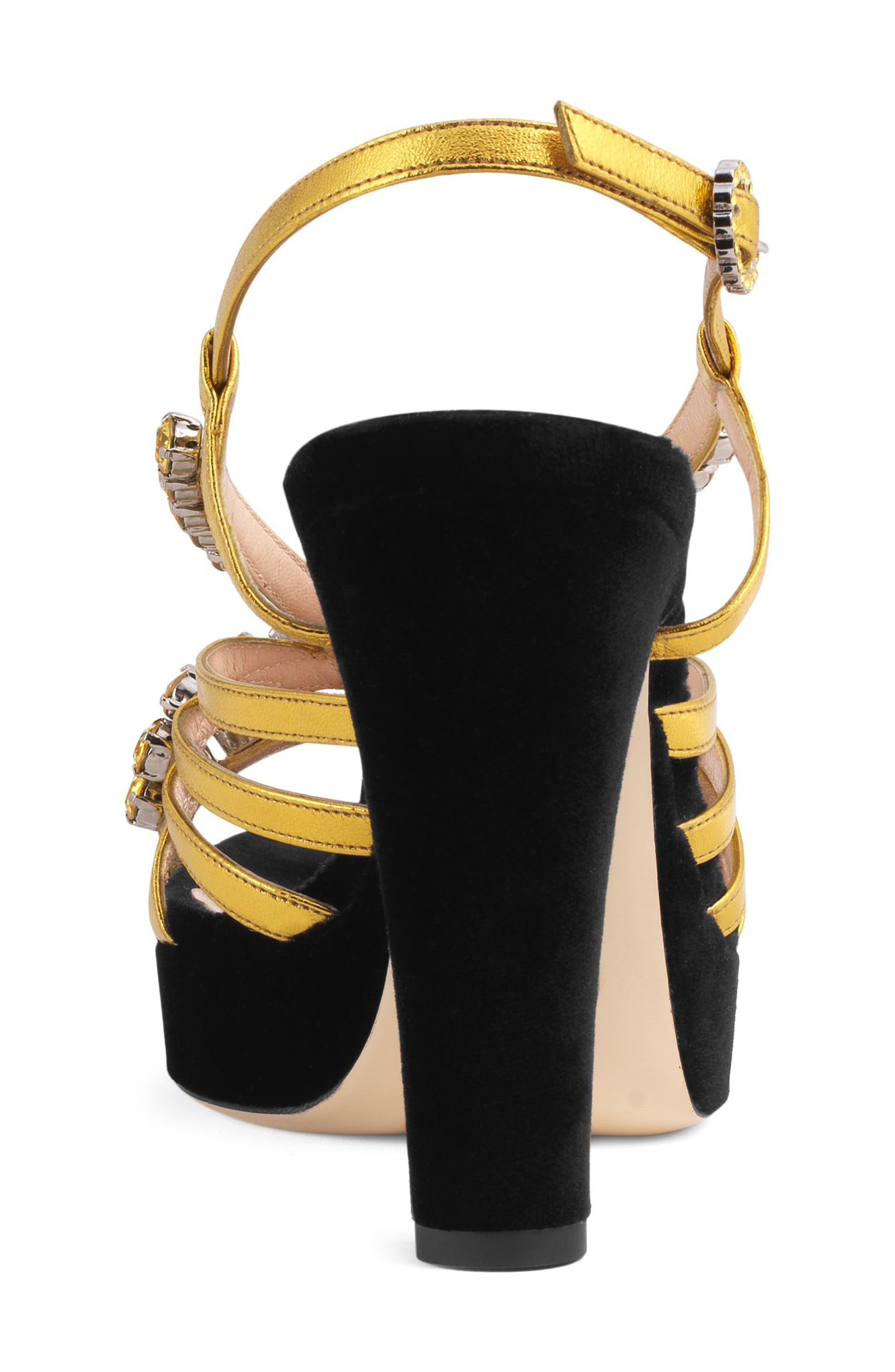 Zephyra Jewel Sandal,                             Alternate thumbnail 5, color,                             BLACK/ GOLD