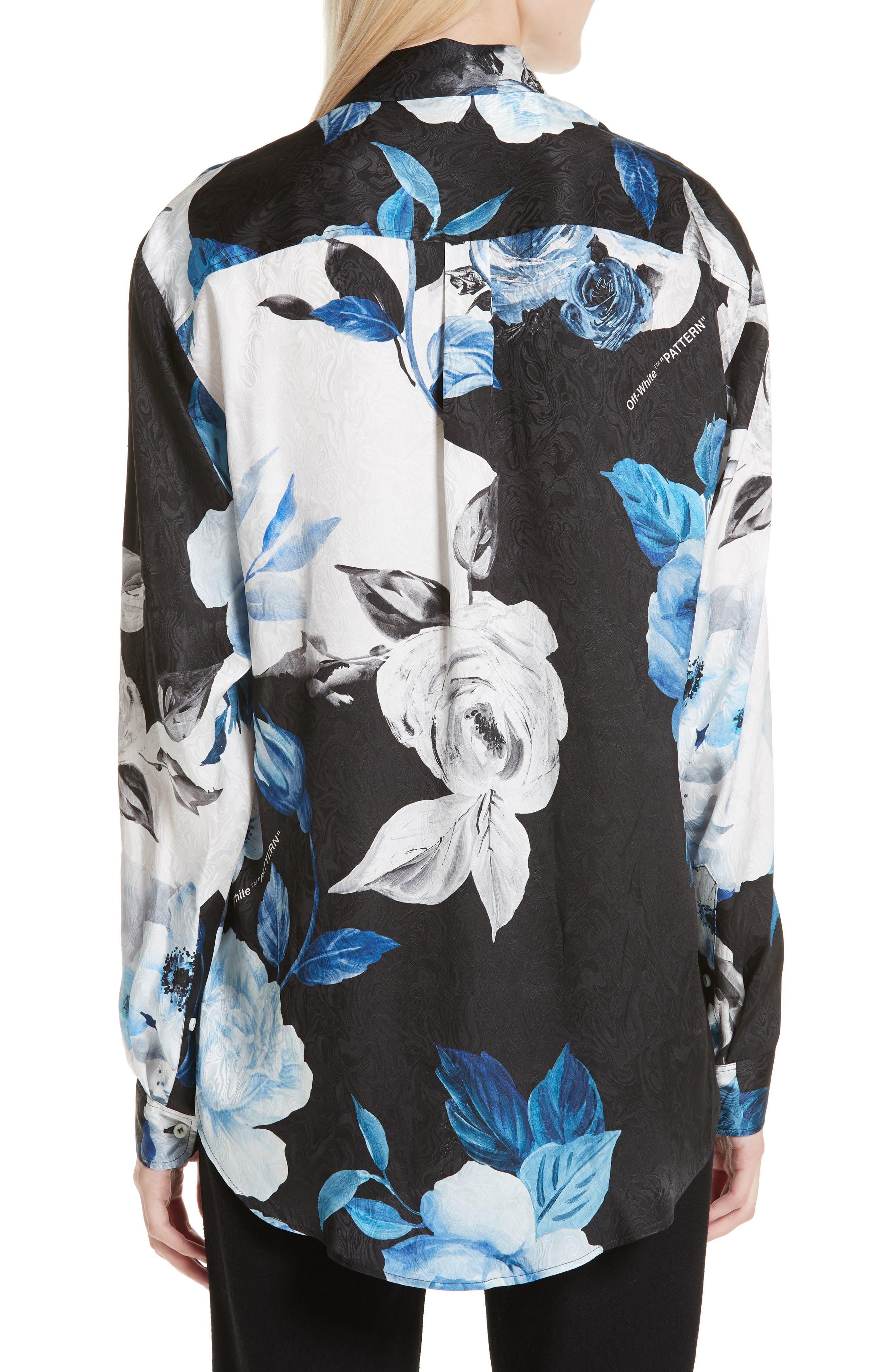 Floral Silk Blouse,                             Alternate thumbnail 2, color,                             001