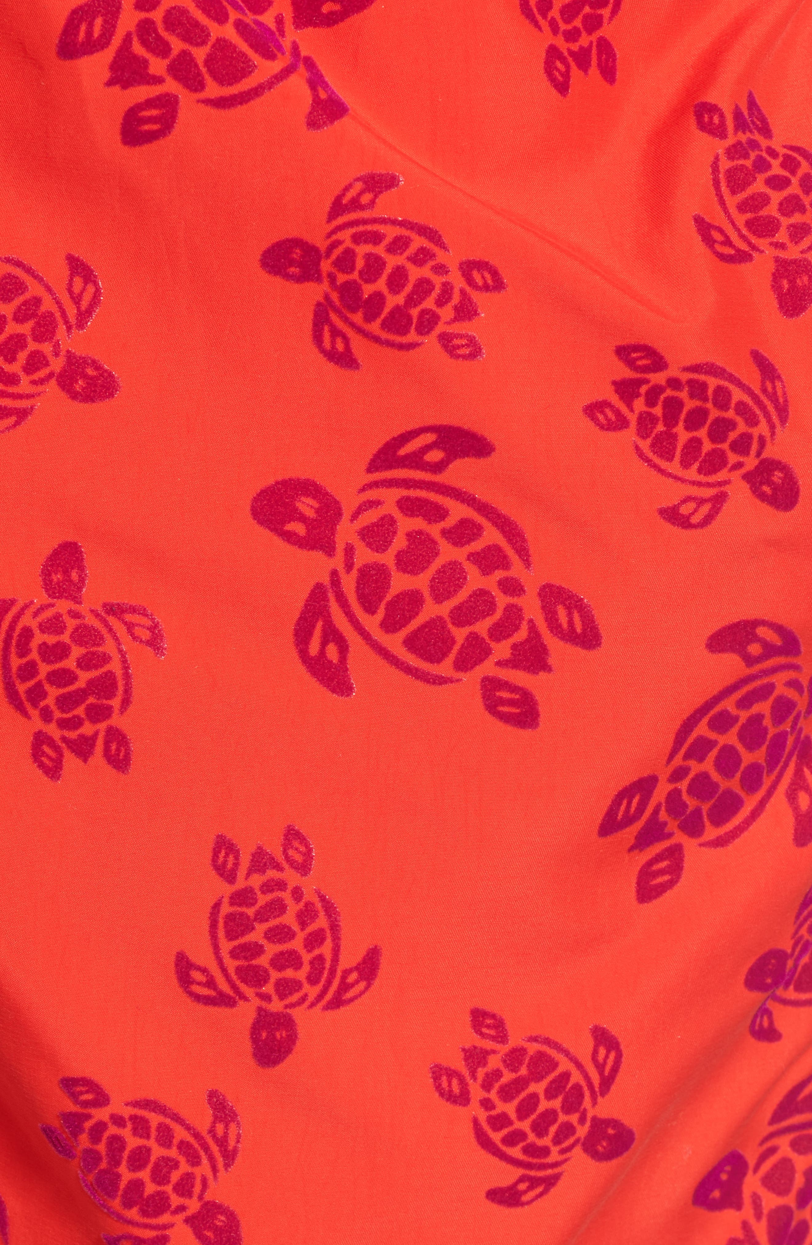 Flocked Turtles Swim Trunks,                             Alternate thumbnail 5, color,                             POPPY RED