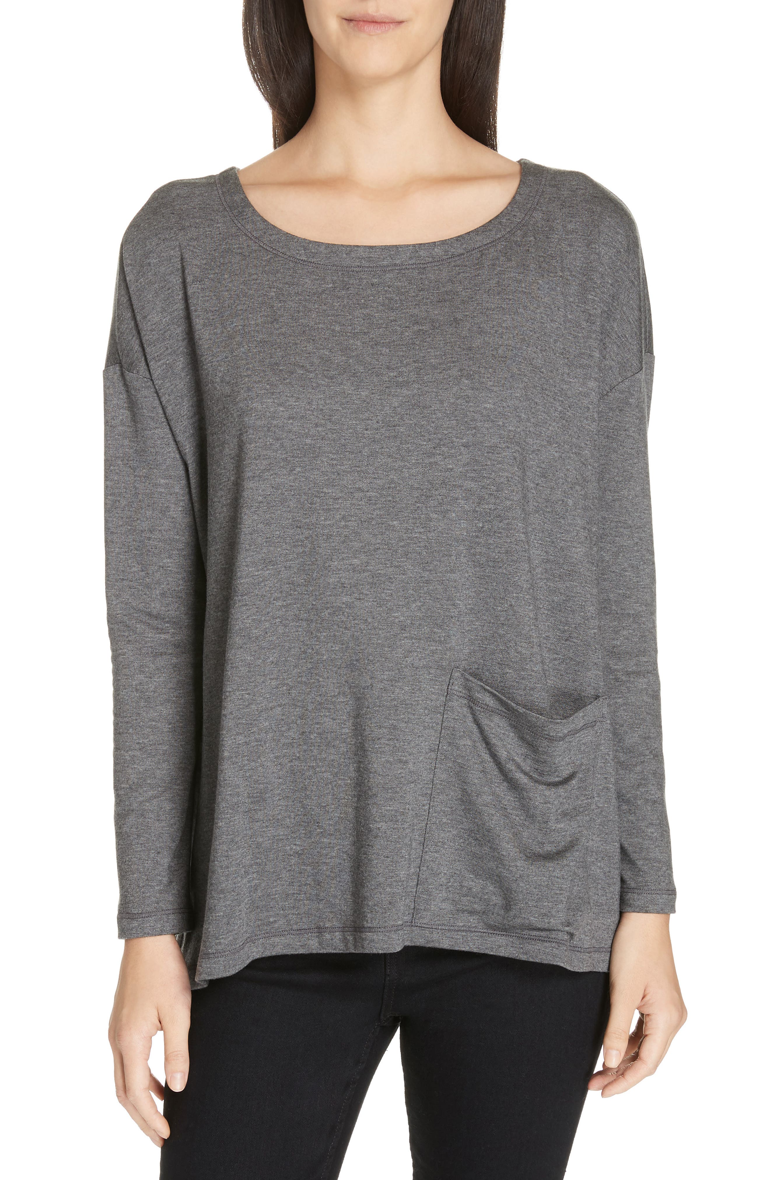 Plus Size Eileen Fisher Stretch Terry Top, Grey