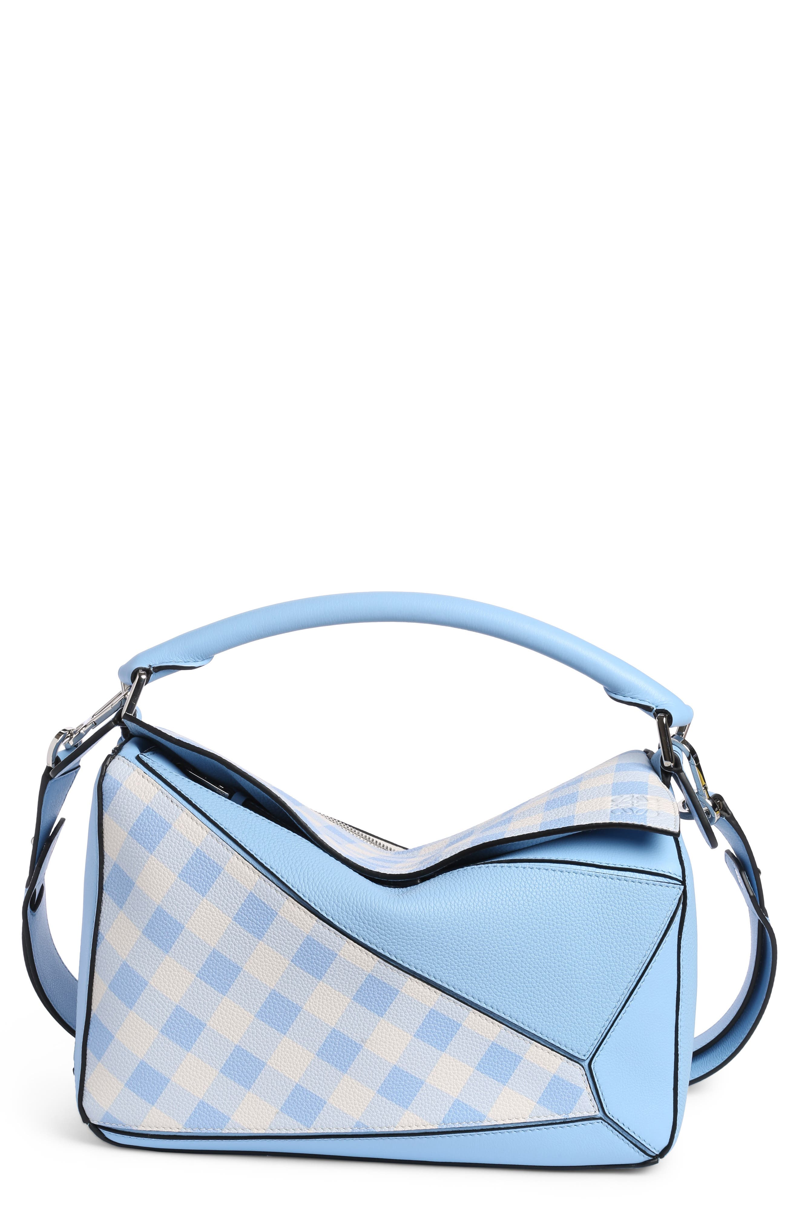 Puzzle Gingham Calfskin Leather Bag,                         Main,                         color, 455
