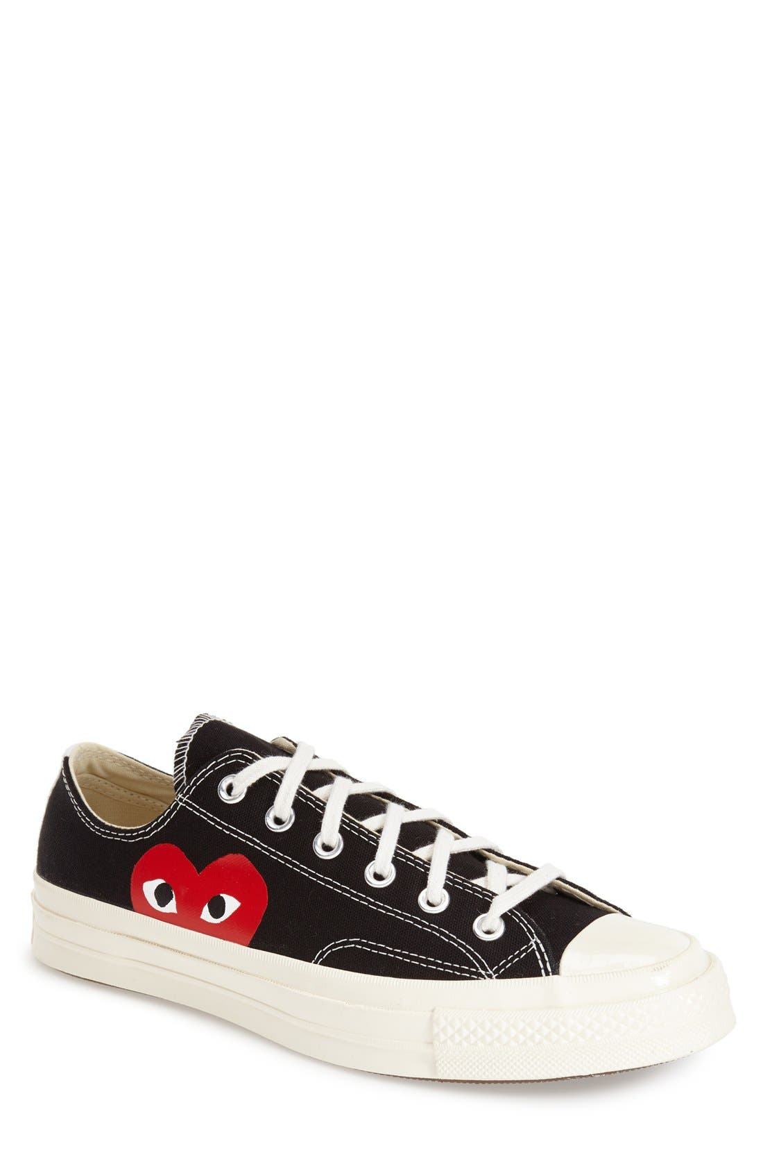 COMME DES GARÇONS,                             PLAY x Converse Chuck Taylor<sup>®</sup> Low Top Sneaker,                             Main thumbnail 1, color,                             BLACK CANVAS