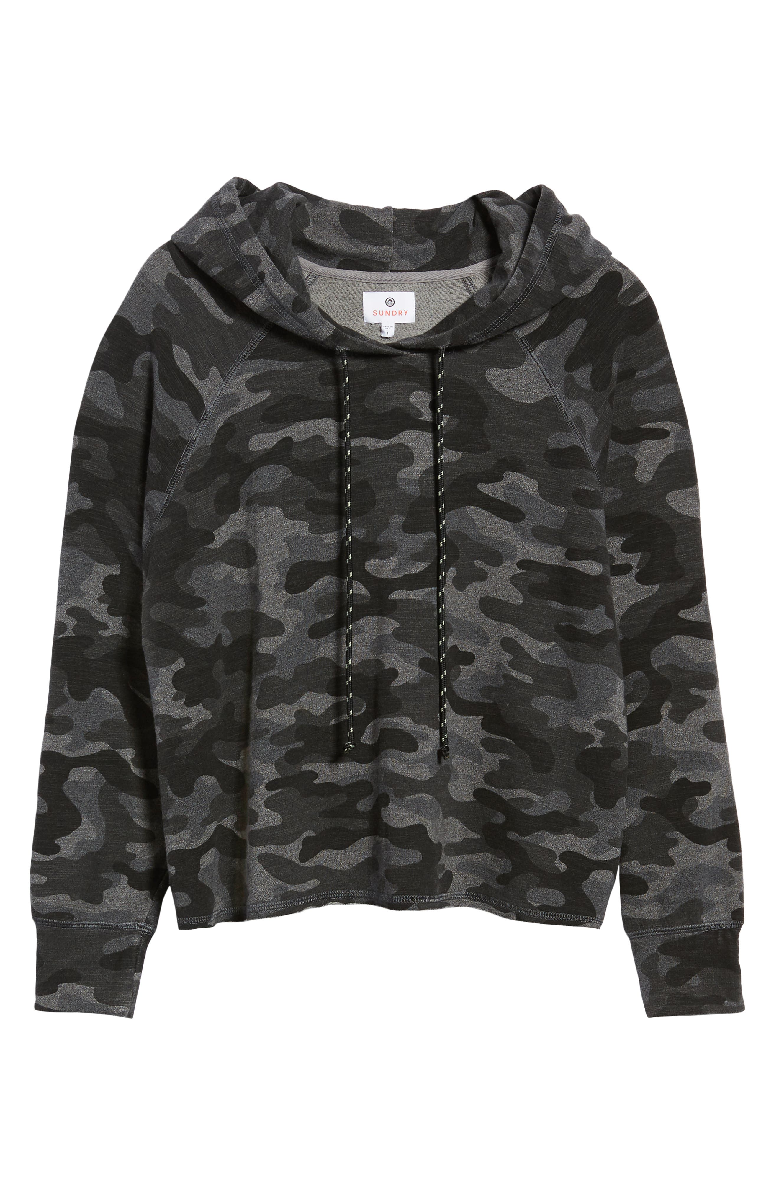 Camo Crop Hoodie,                             Alternate thumbnail 6, color,                             CHARCOAL