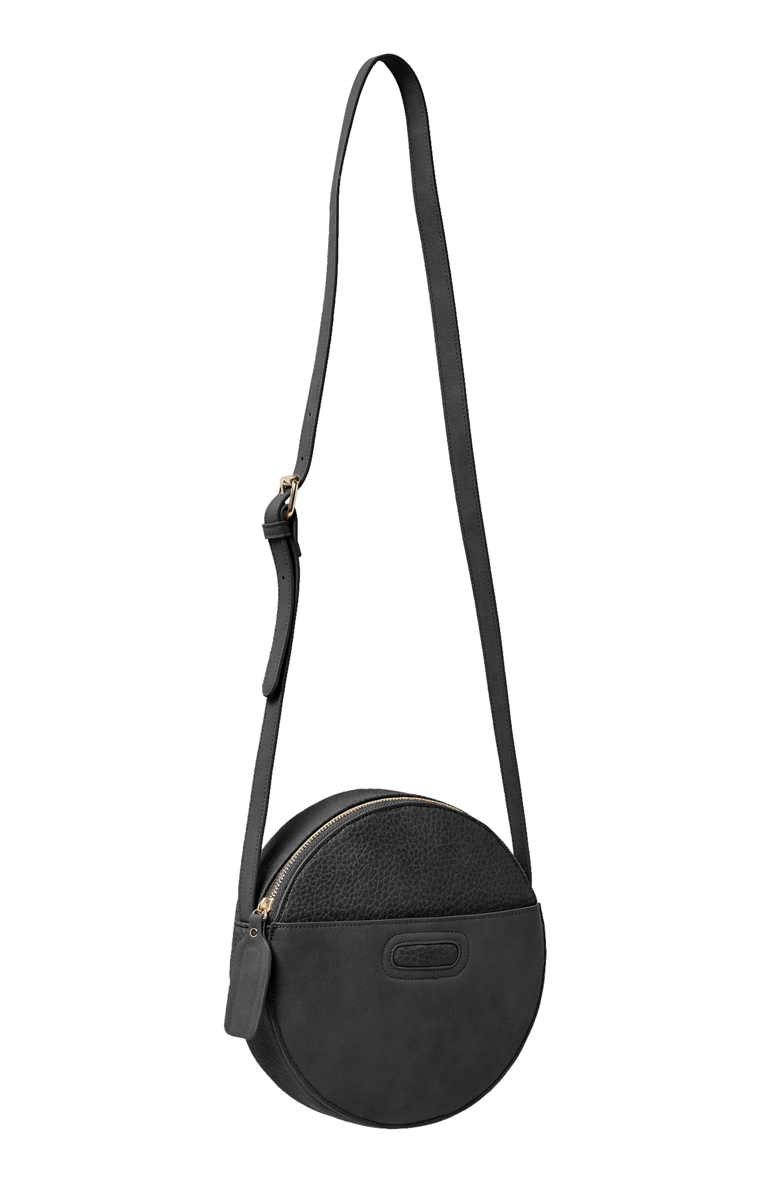 Carousel Vegan Leather Crossbody Bag,                             Alternate thumbnail 3, color,                             BLACK