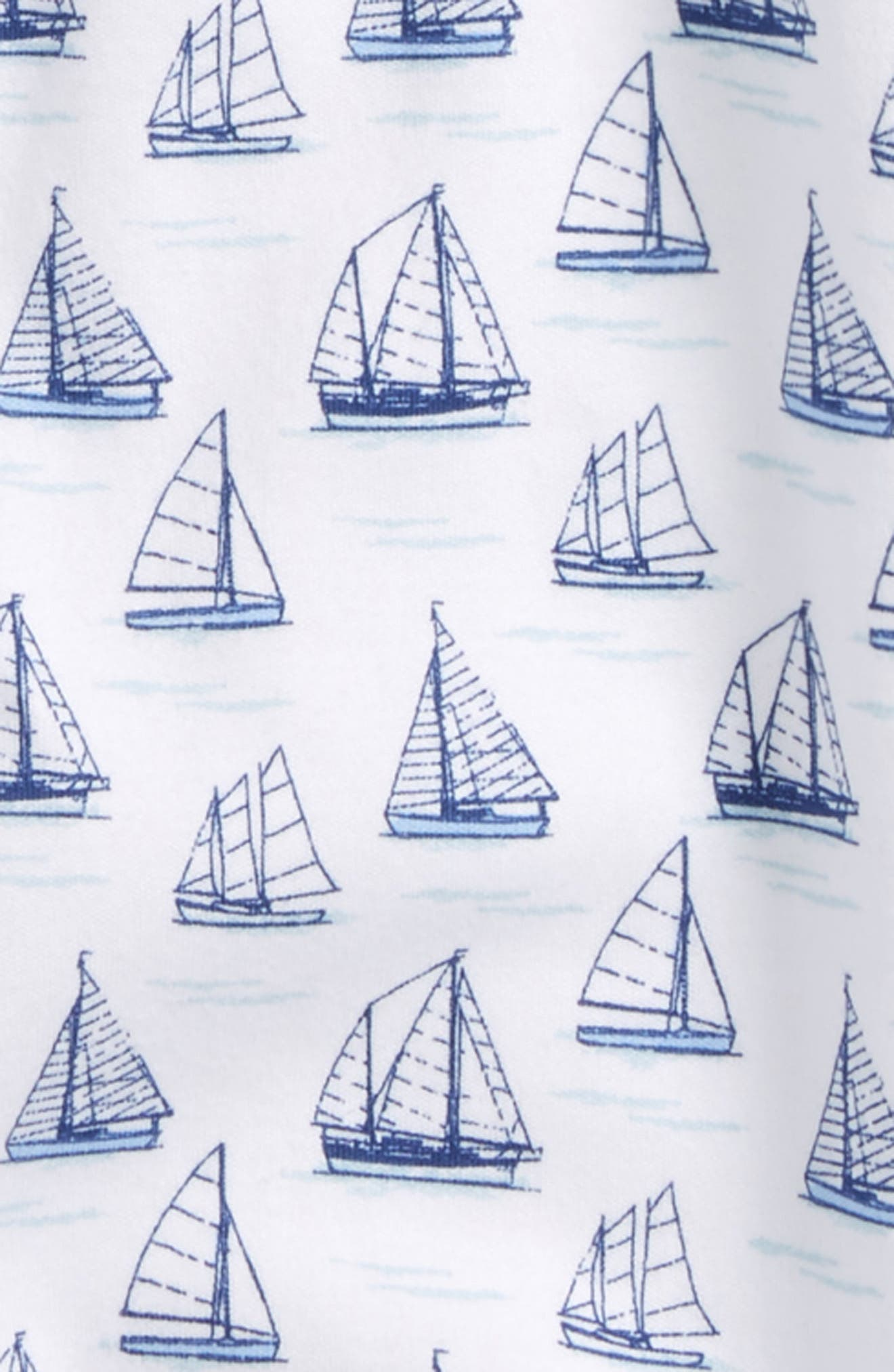 Tall Ships Print Gown & Hat Set,                             Alternate thumbnail 2, color,                             410