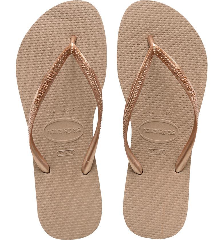 Havaianas Women's Slim Crystal Glamour Flip Flops In Rose Gold