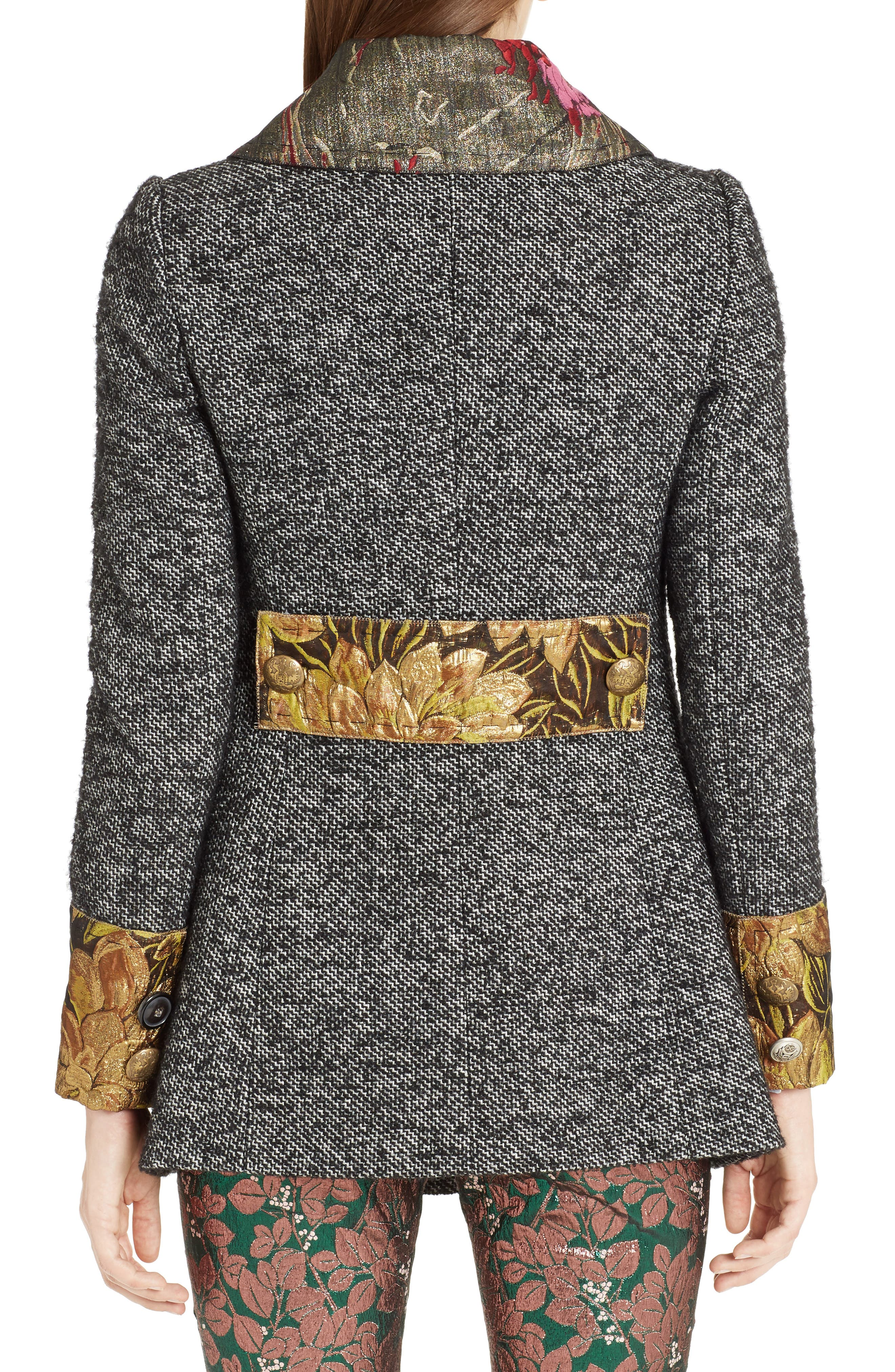 Jacquard Trim Tweed Coat,                             Alternate thumbnail 2, color,                             060