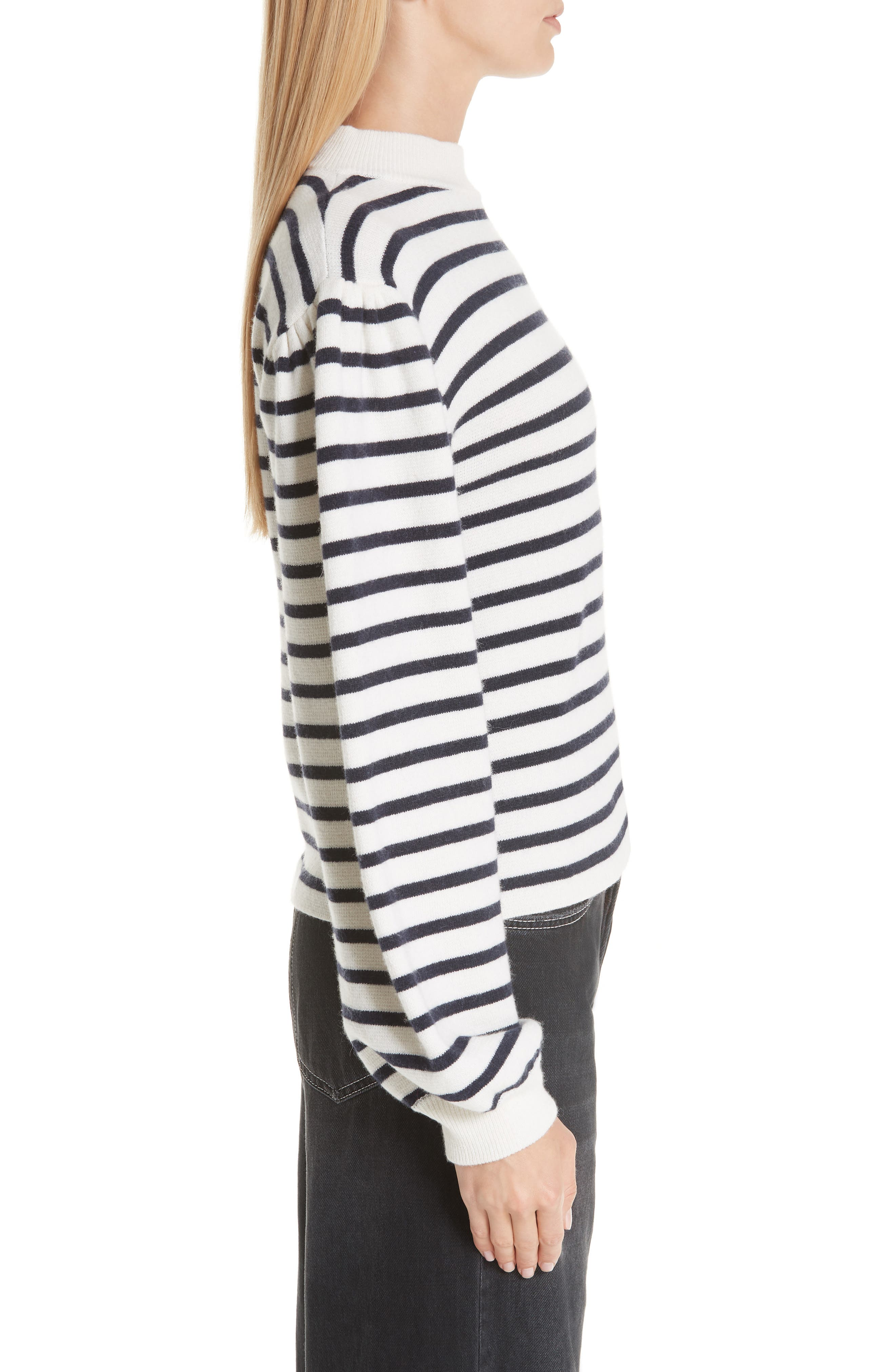 Stripe Knit Sweater,                             Alternate thumbnail 3, color,                             EGRET 135