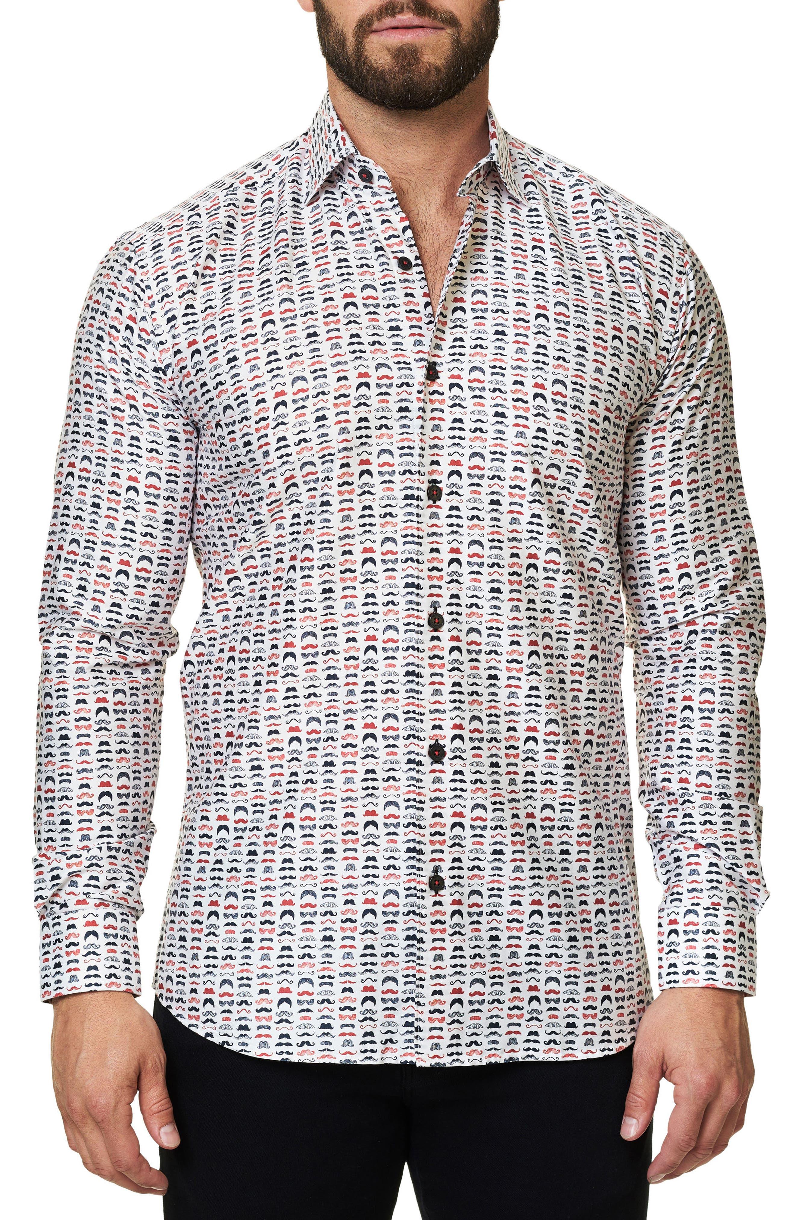 Luxor Funky Mustache Trim Fit Sport Shirt,                         Main,                         color, 114