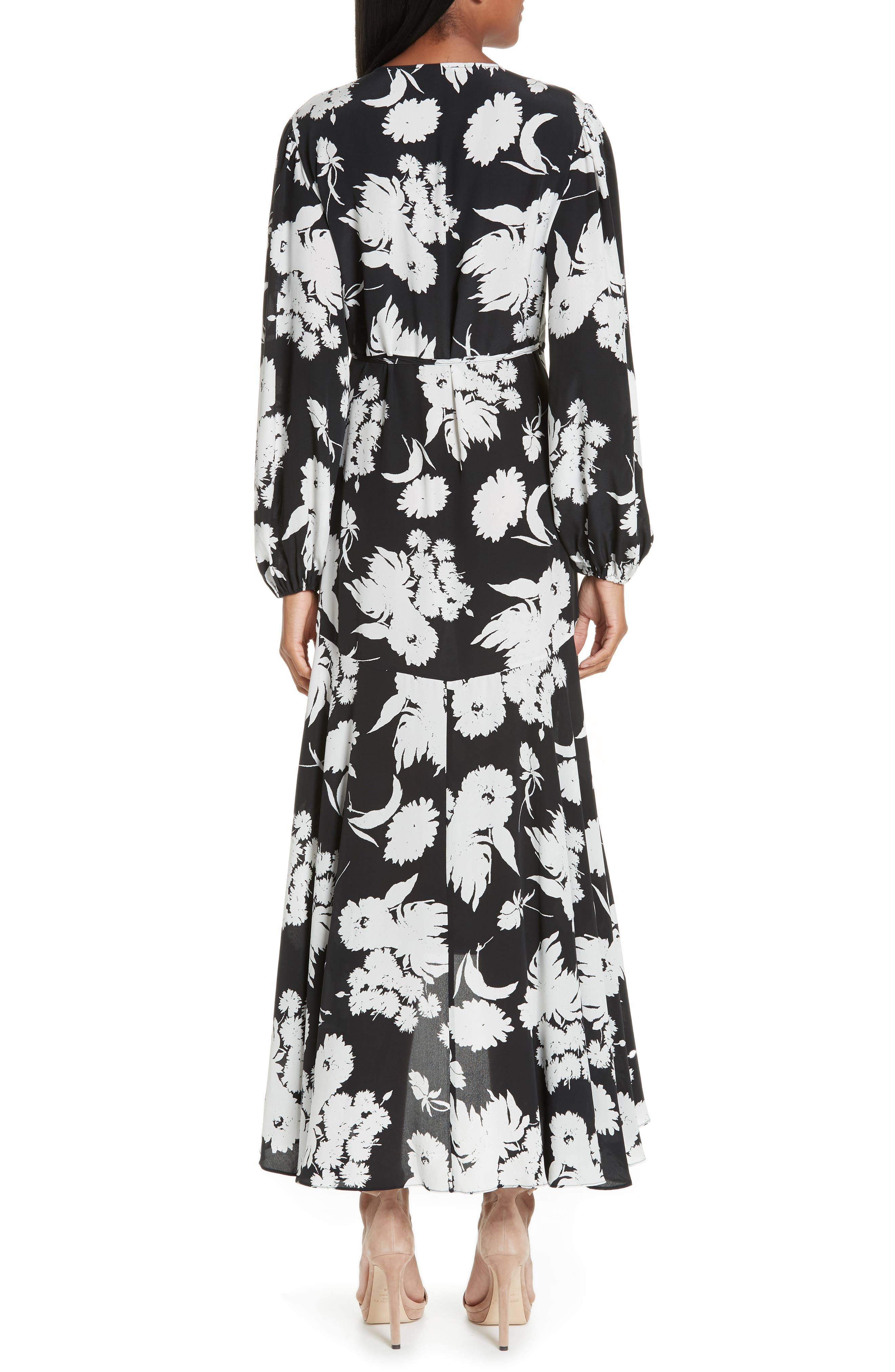 Floral Silk Wrap Dress,                             Alternate thumbnail 2, color,                             001