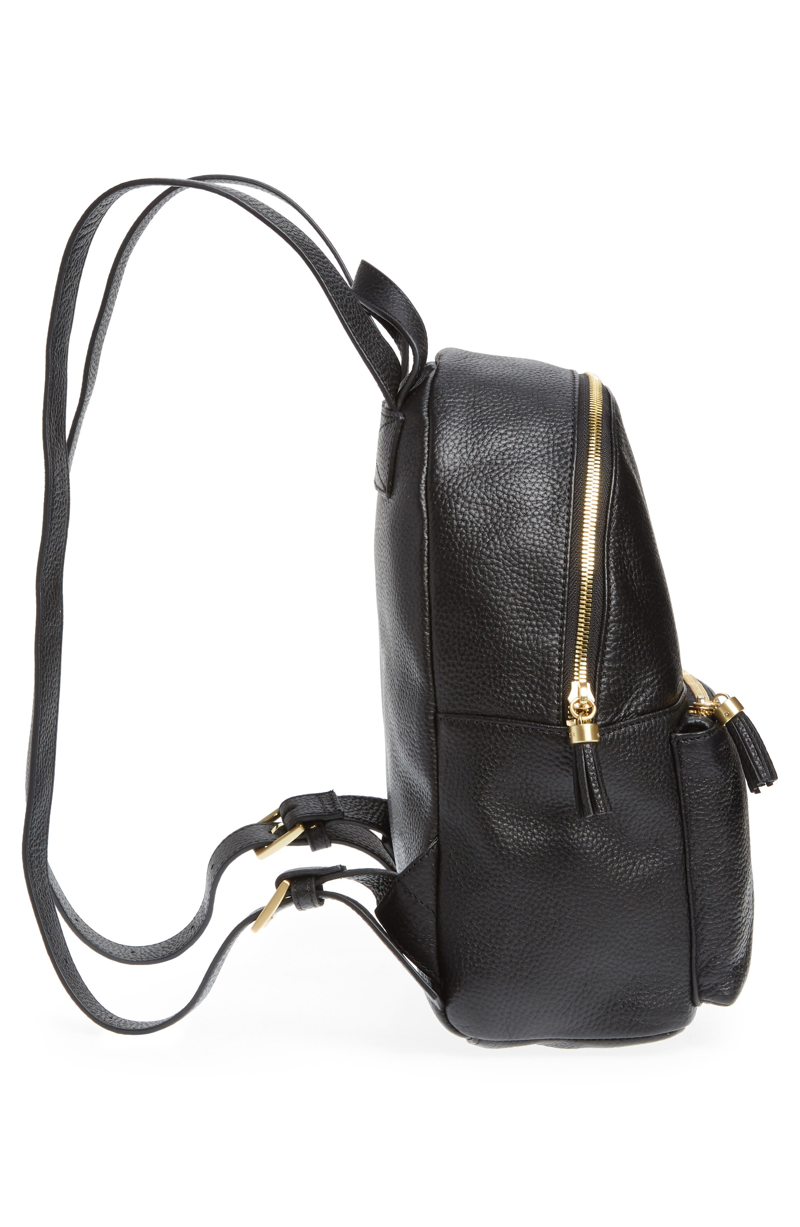 Leather Backpack,                             Alternate thumbnail 5, color,                             BLACK