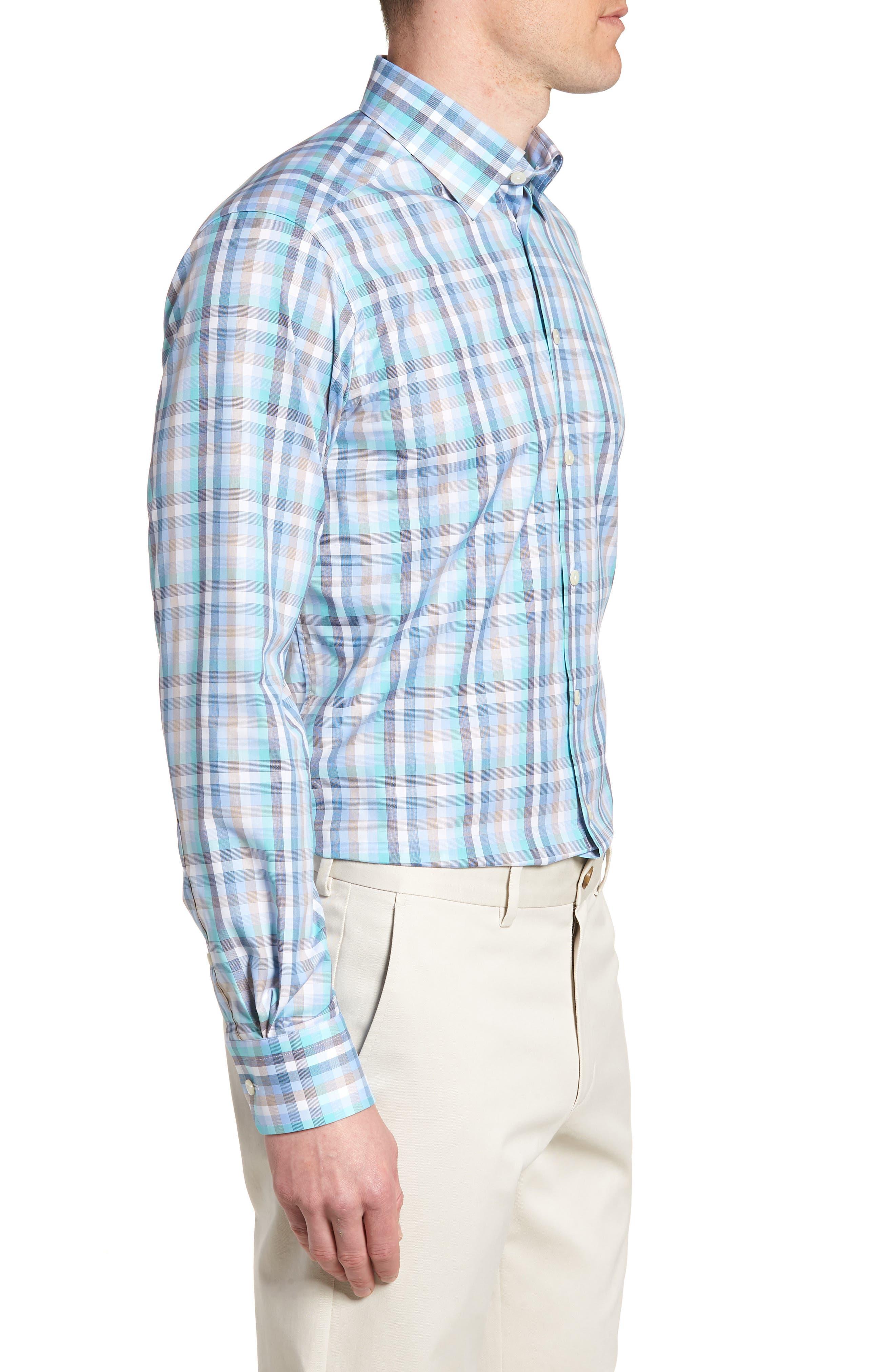 Contemporary Fit Plaid Dress Shirt,                             Alternate thumbnail 4, color,                             BLUE