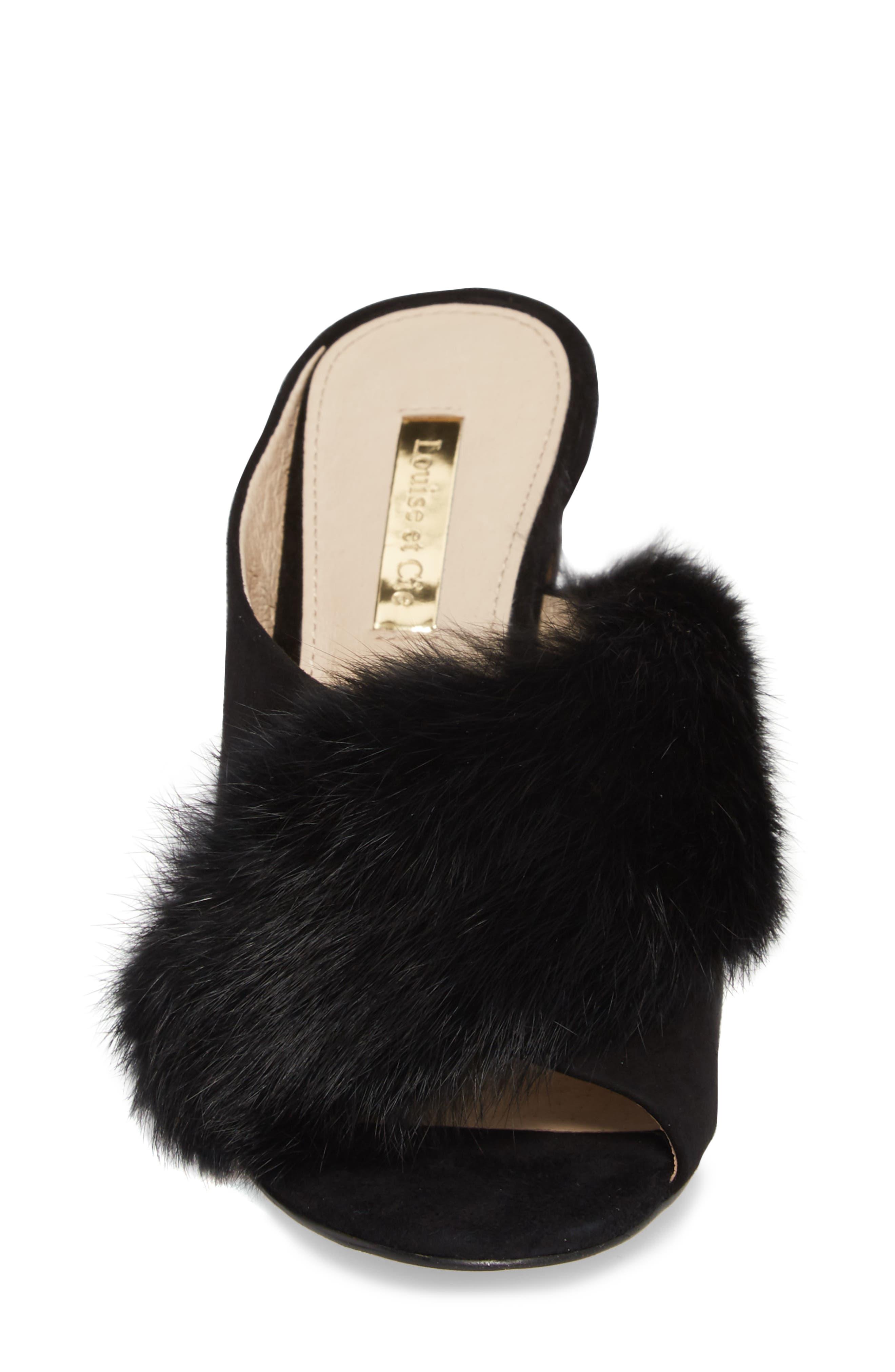 Halloway Genuine Rabbit Fur Sandal,                             Alternate thumbnail 4, color,                             BLACK RABBIT FUR