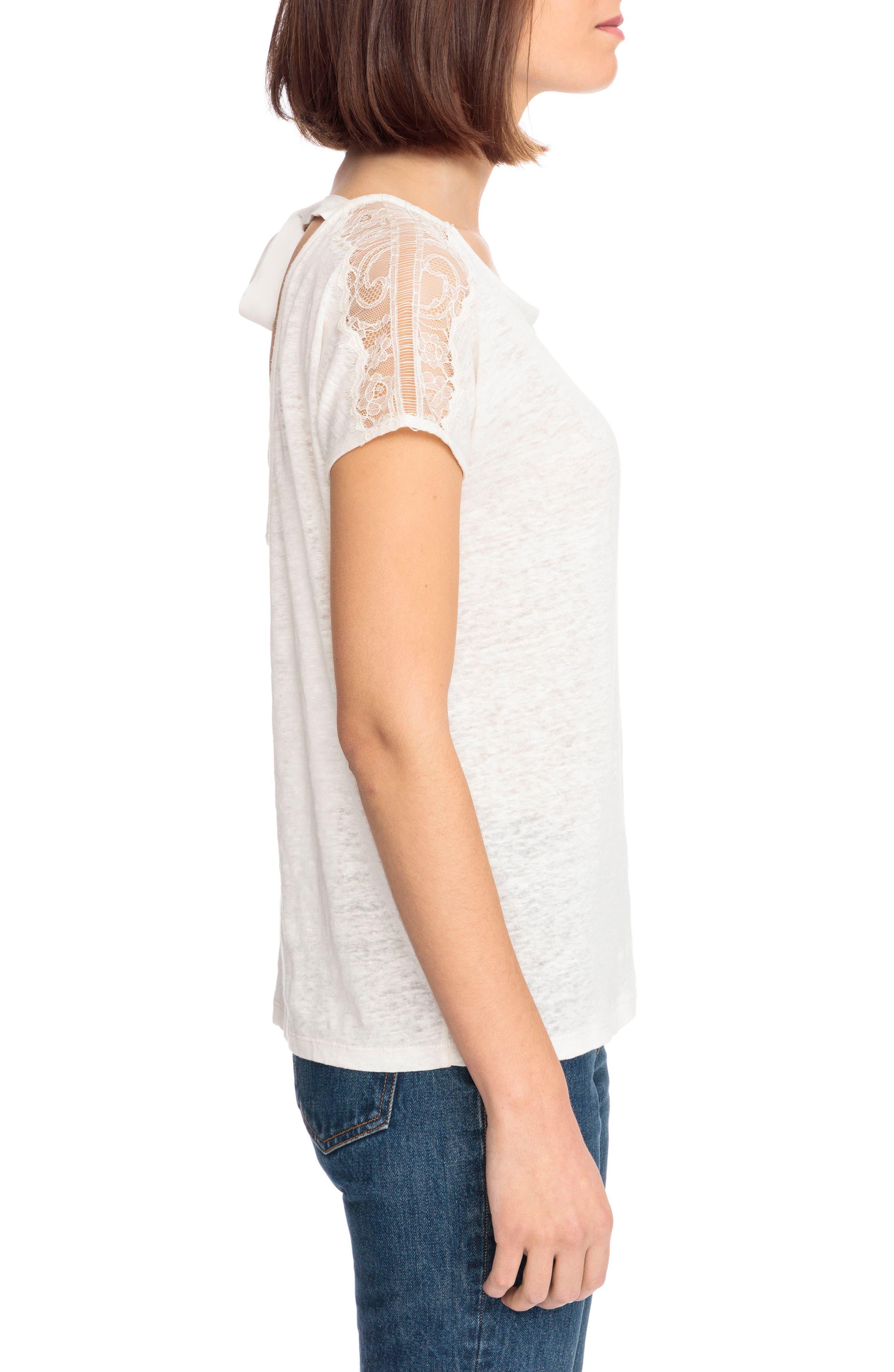 Livia Lace Shoulder Back Tie Linen Tee,                             Alternate thumbnail 3, color,                             100