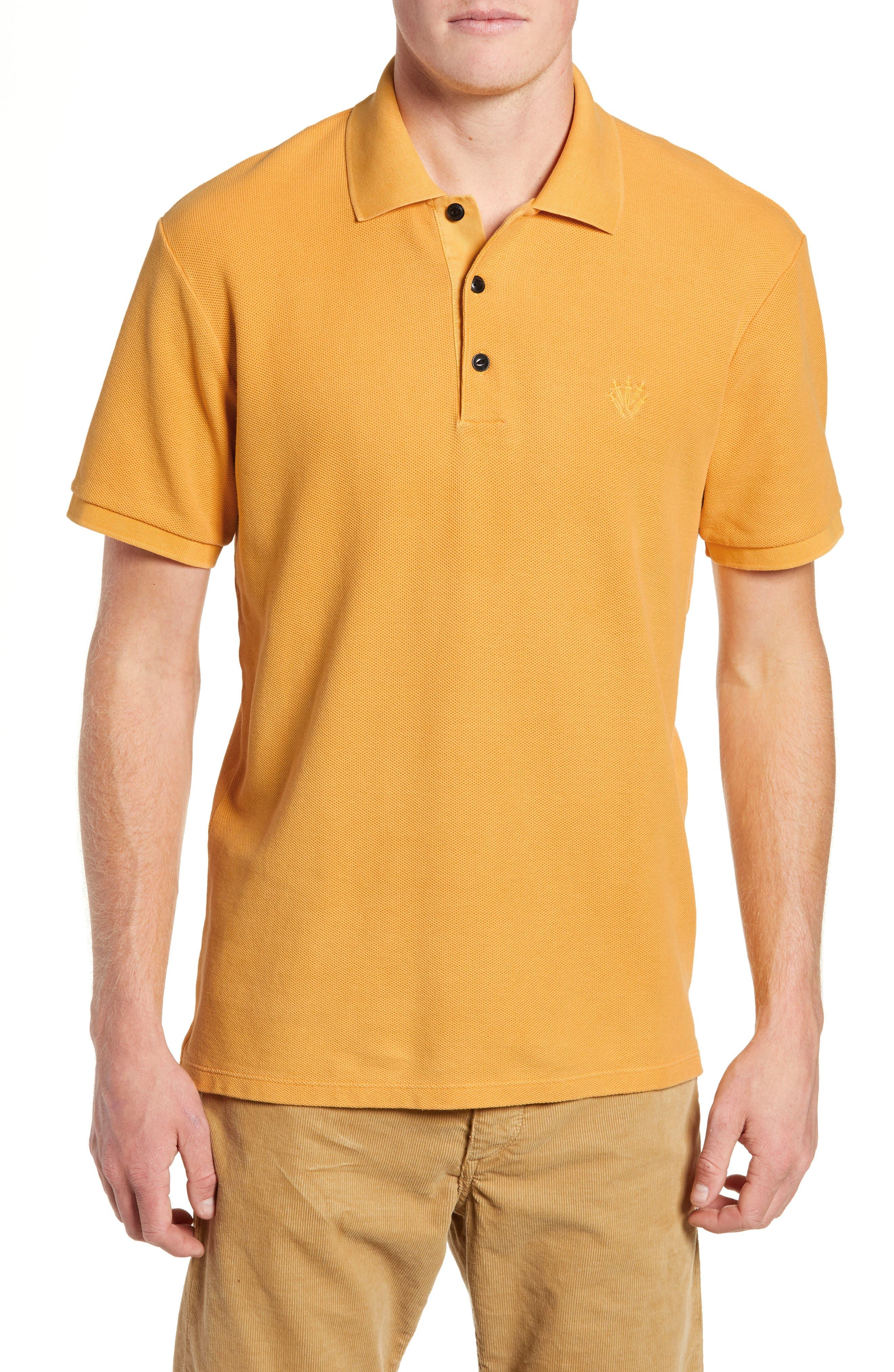 Solid Piqué Polo,                         Main,                         color, GOLD