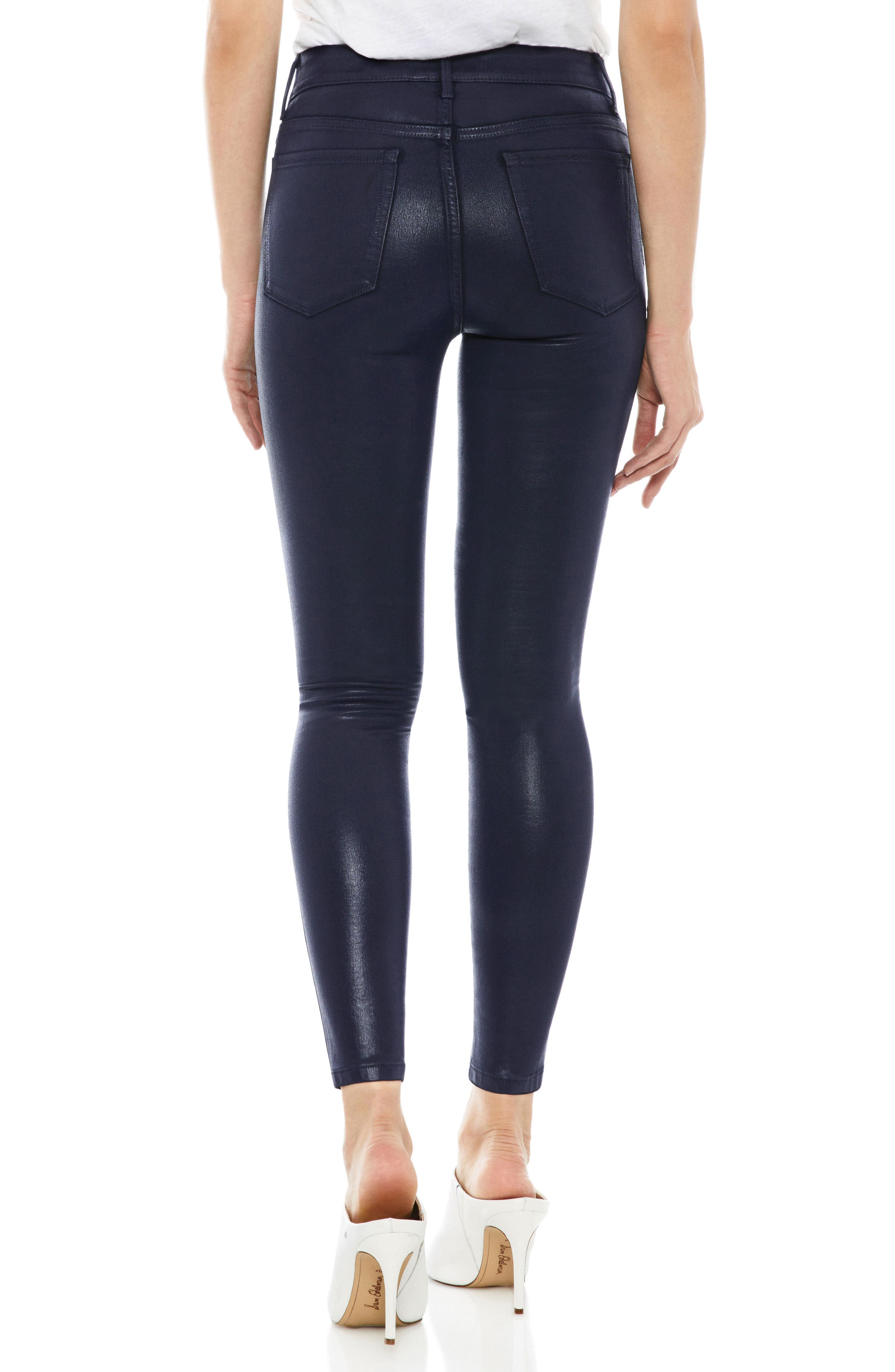 The Stiletto Coated High Rise Skinny Jeans,                             Alternate thumbnail 2, color,                             NAVY