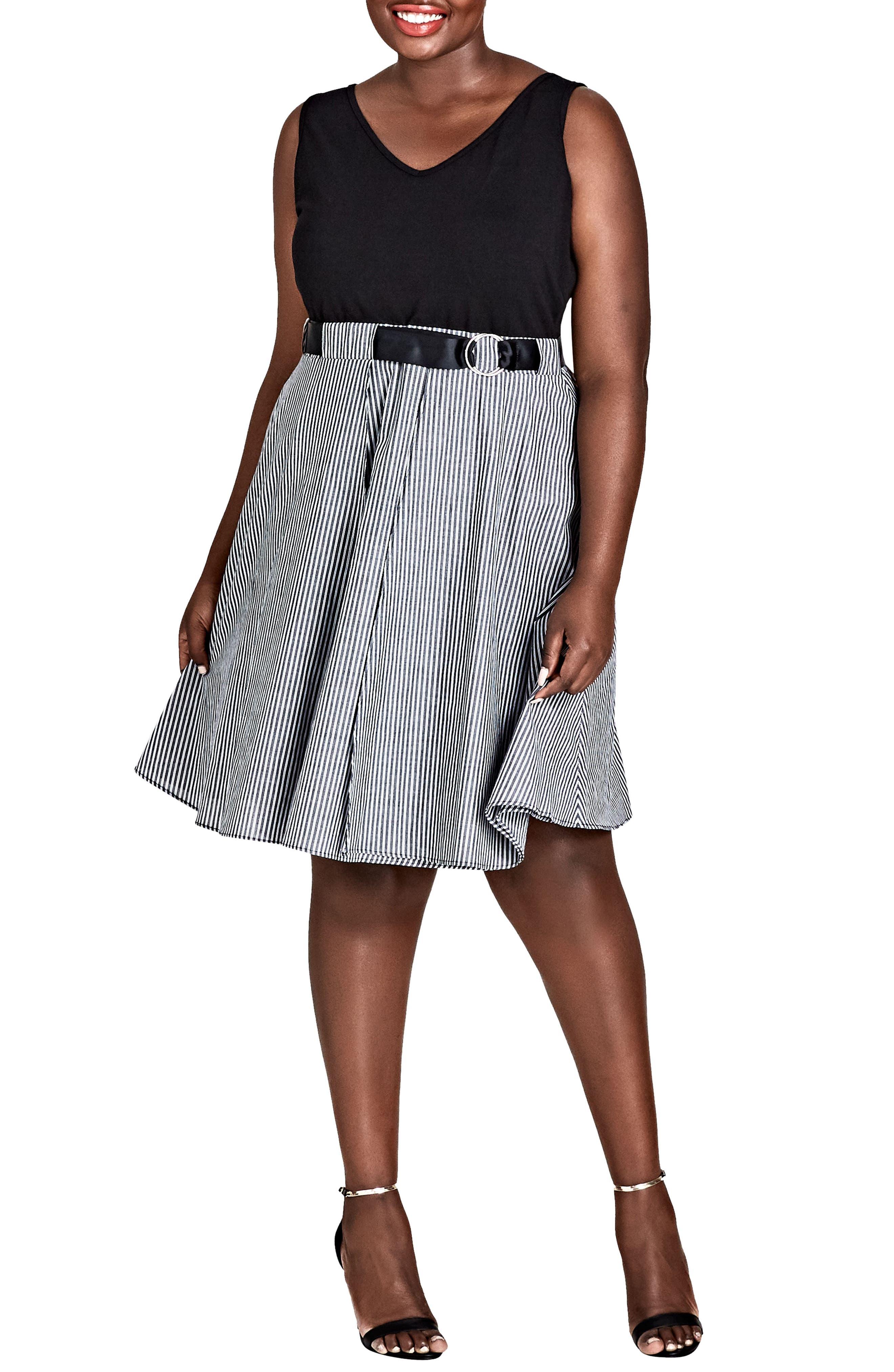 Mixed Media Dress,                         Main,                         color, BLACK