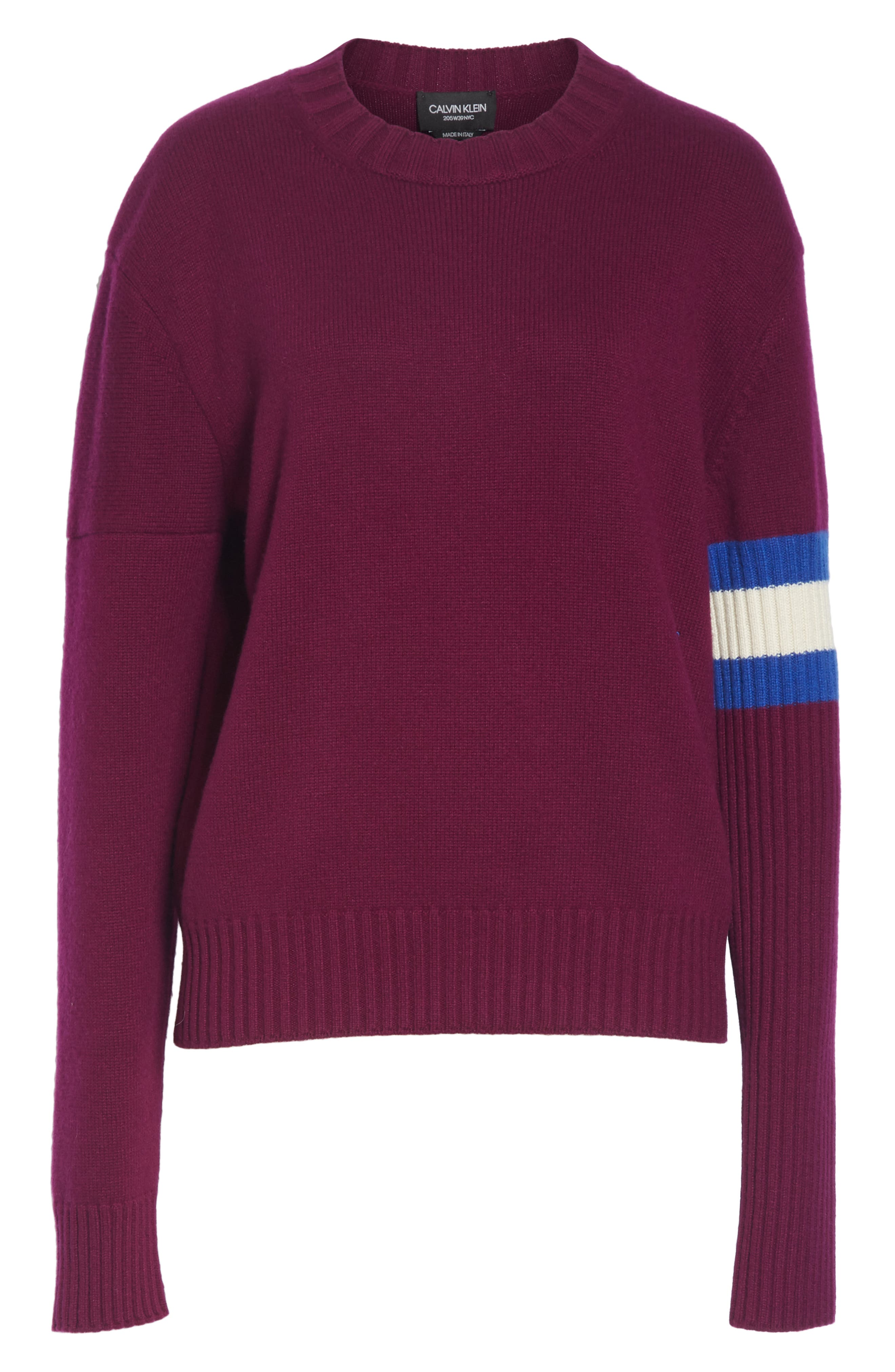Cashmere Stripe Sleeve Sweater,                             Alternate thumbnail 6, color,                             DEEP PURPLE BRIGHT BLUE WHITE