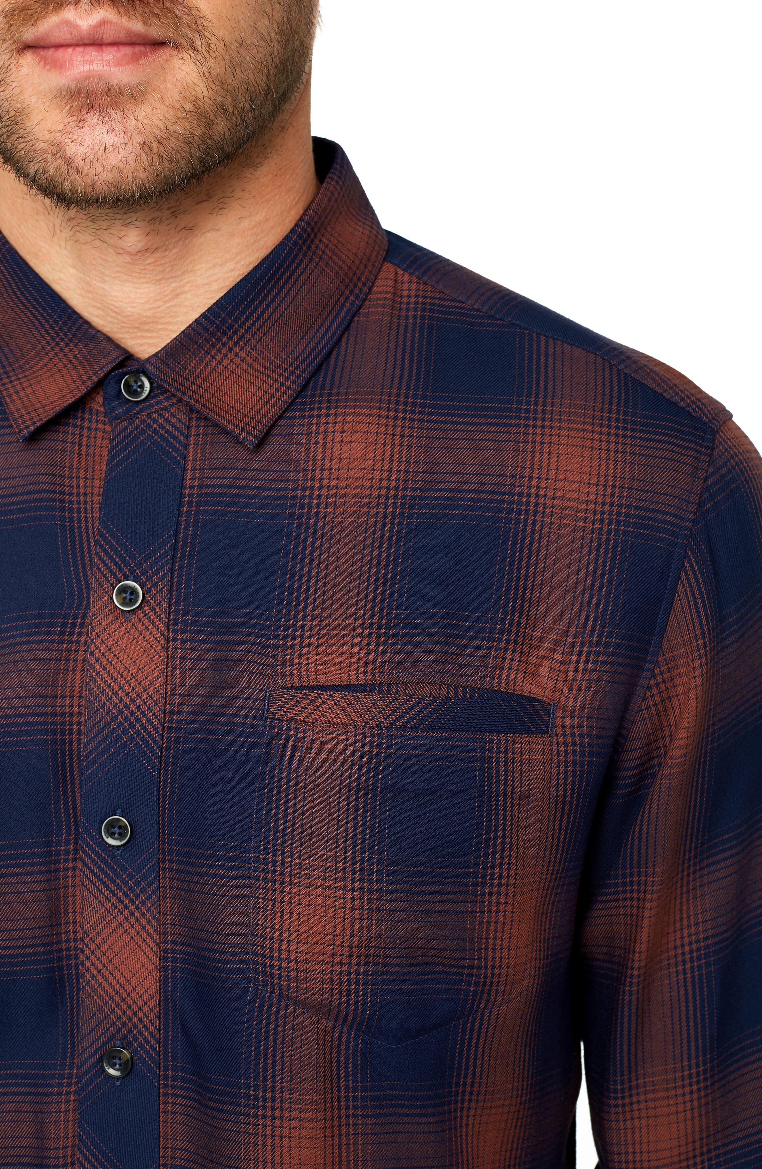 Ewan Trim Fit Flannel Shirt,                             Alternate thumbnail 2, color,                             NAVY CHESTNUT