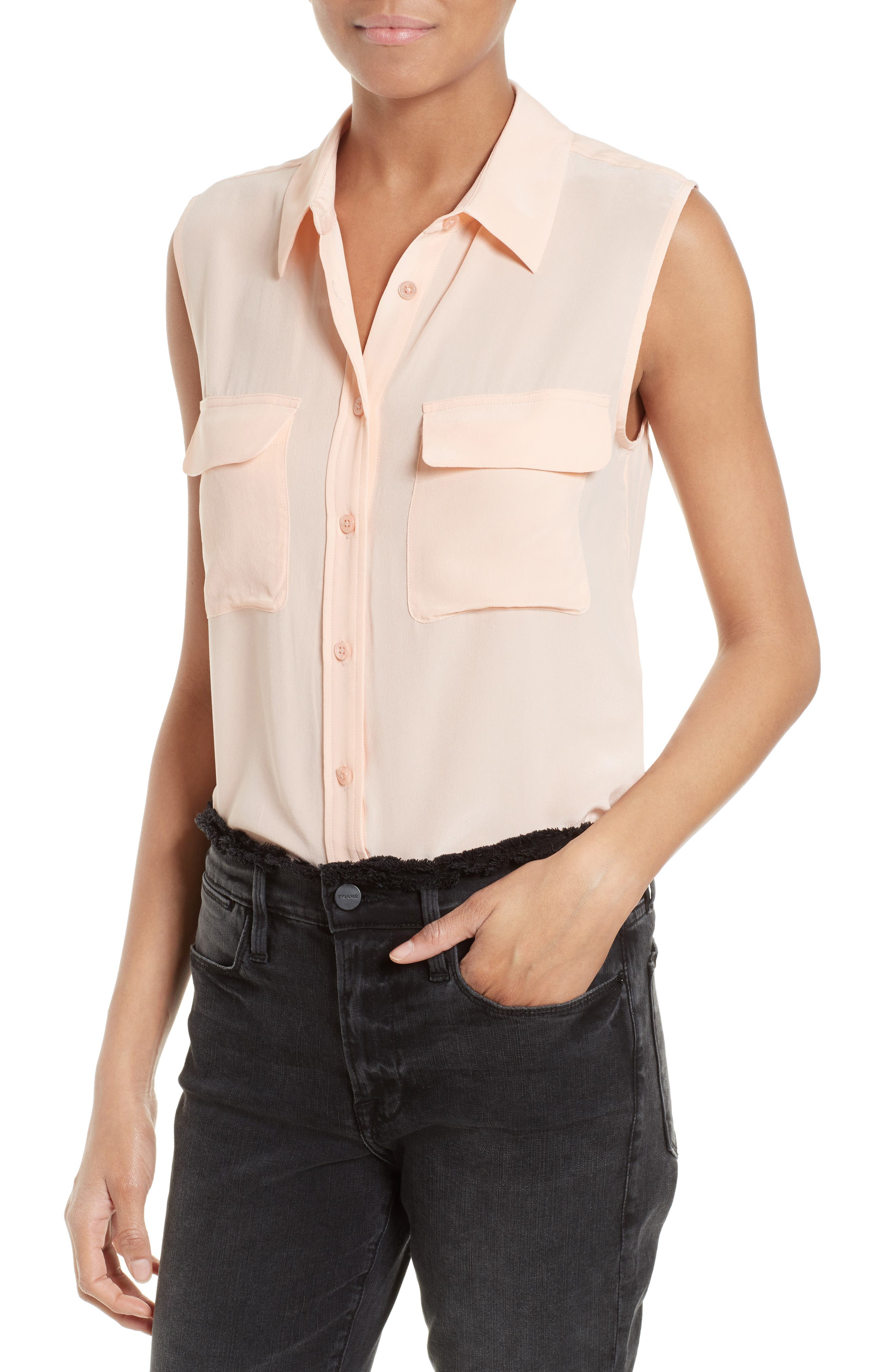 'Slim Signature' Sleeveless Silk Shirt,                             Alternate thumbnail 108, color,