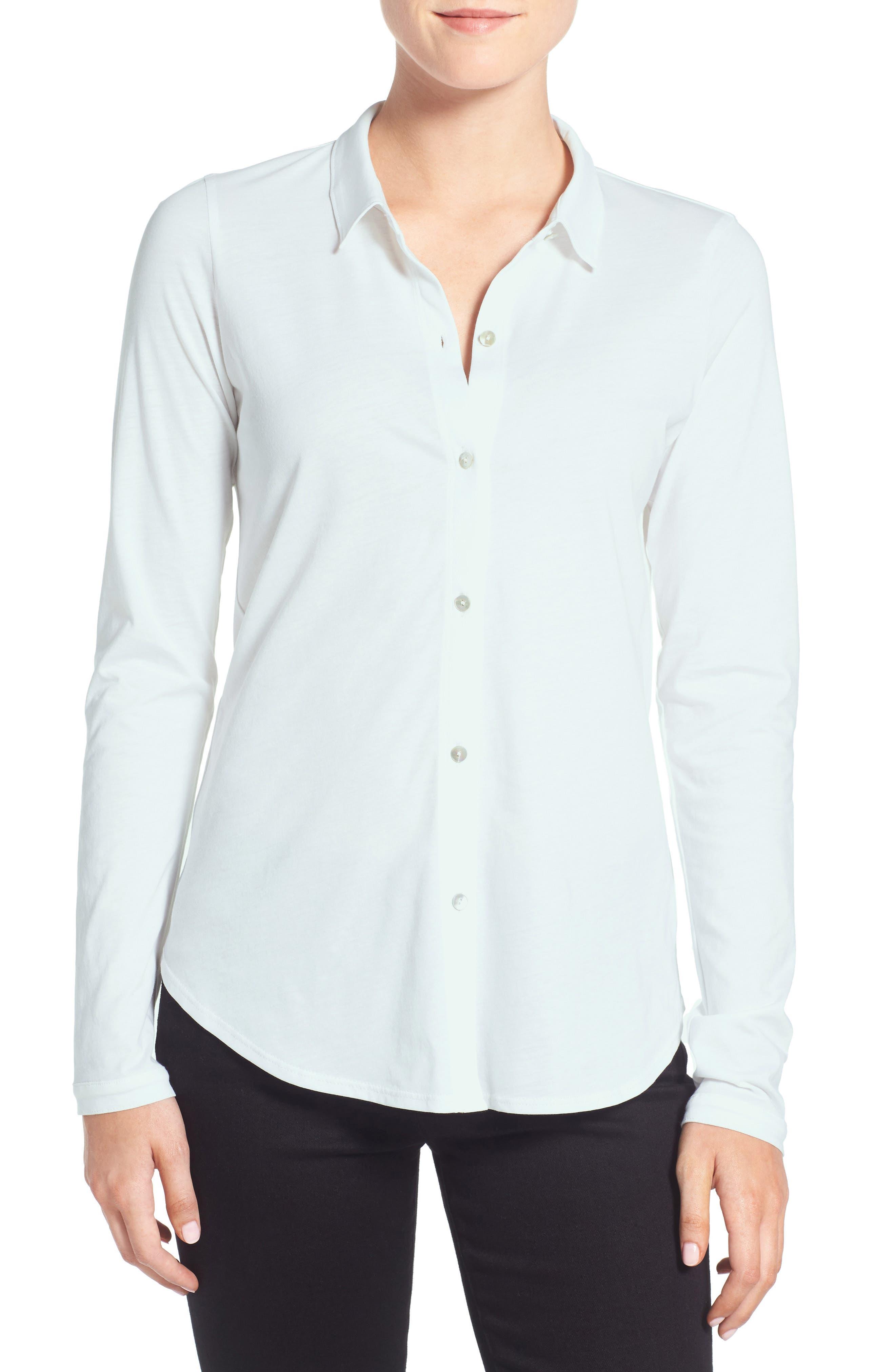 Organic Cotton Jersey Classic Collar Shirt,                             Main thumbnail 5, color,