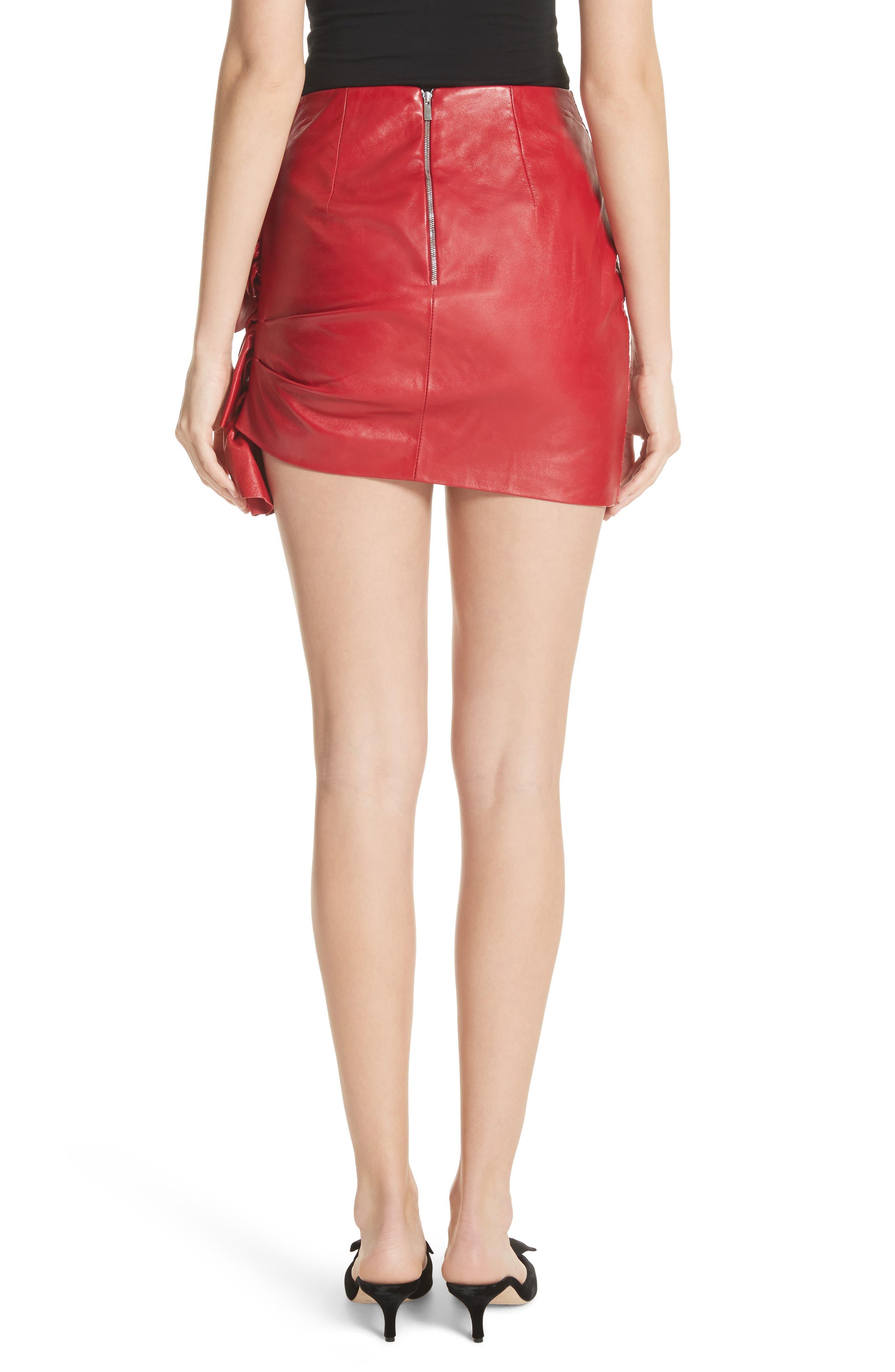 Ruffle Leather Miniskirt,                             Alternate thumbnail 2, color,
