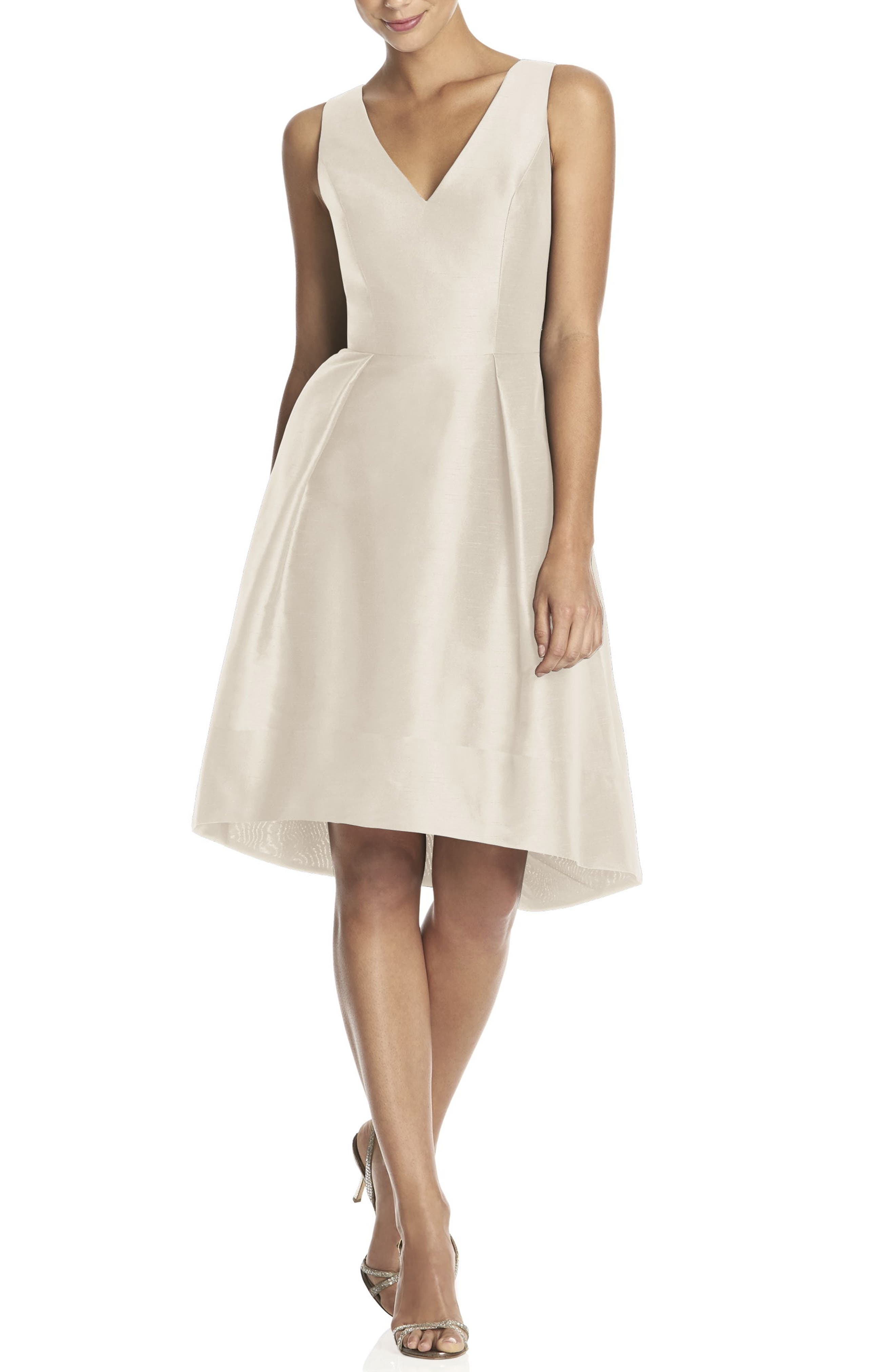 ALFRED SUNG Satin High/Low Fit & Flare Dress, Main, color, CHAMPAGNE