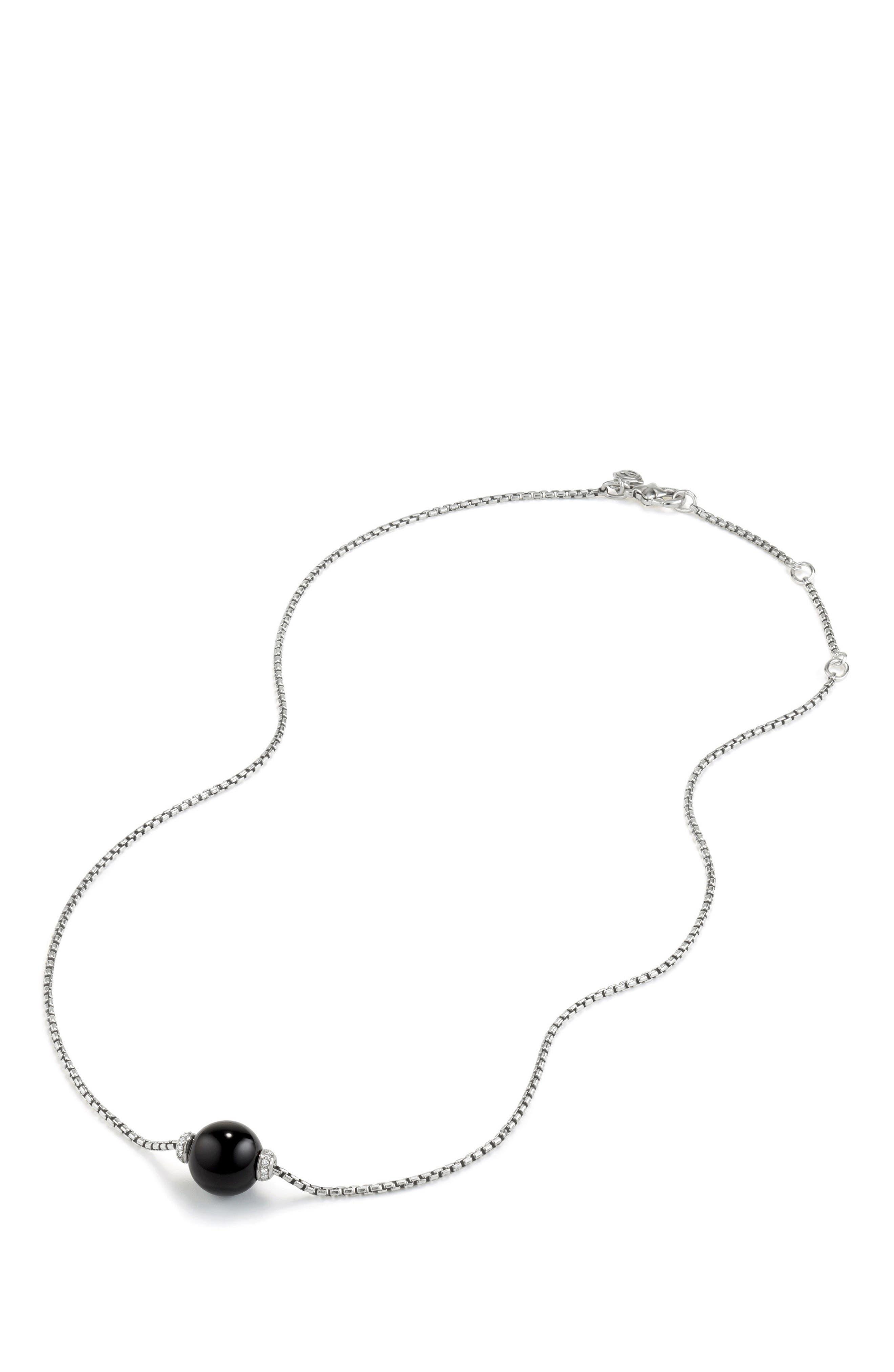 Solari Pendant Necklace with Diamonds,                             Alternate thumbnail 2, color,                             SILVER/ DIAMOND/ BLACK ONYX