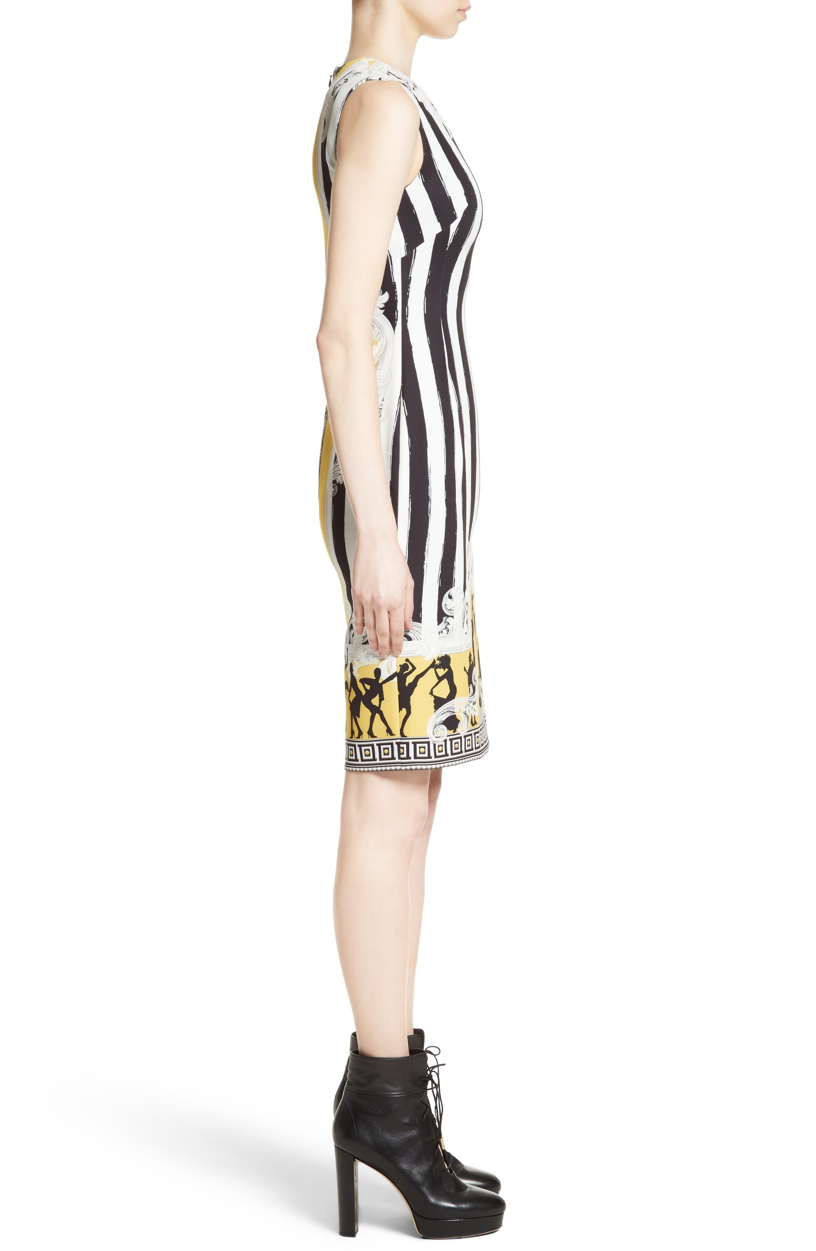 Placed Catwalk Print Silk Dress,                             Alternate thumbnail 3, color,                             100