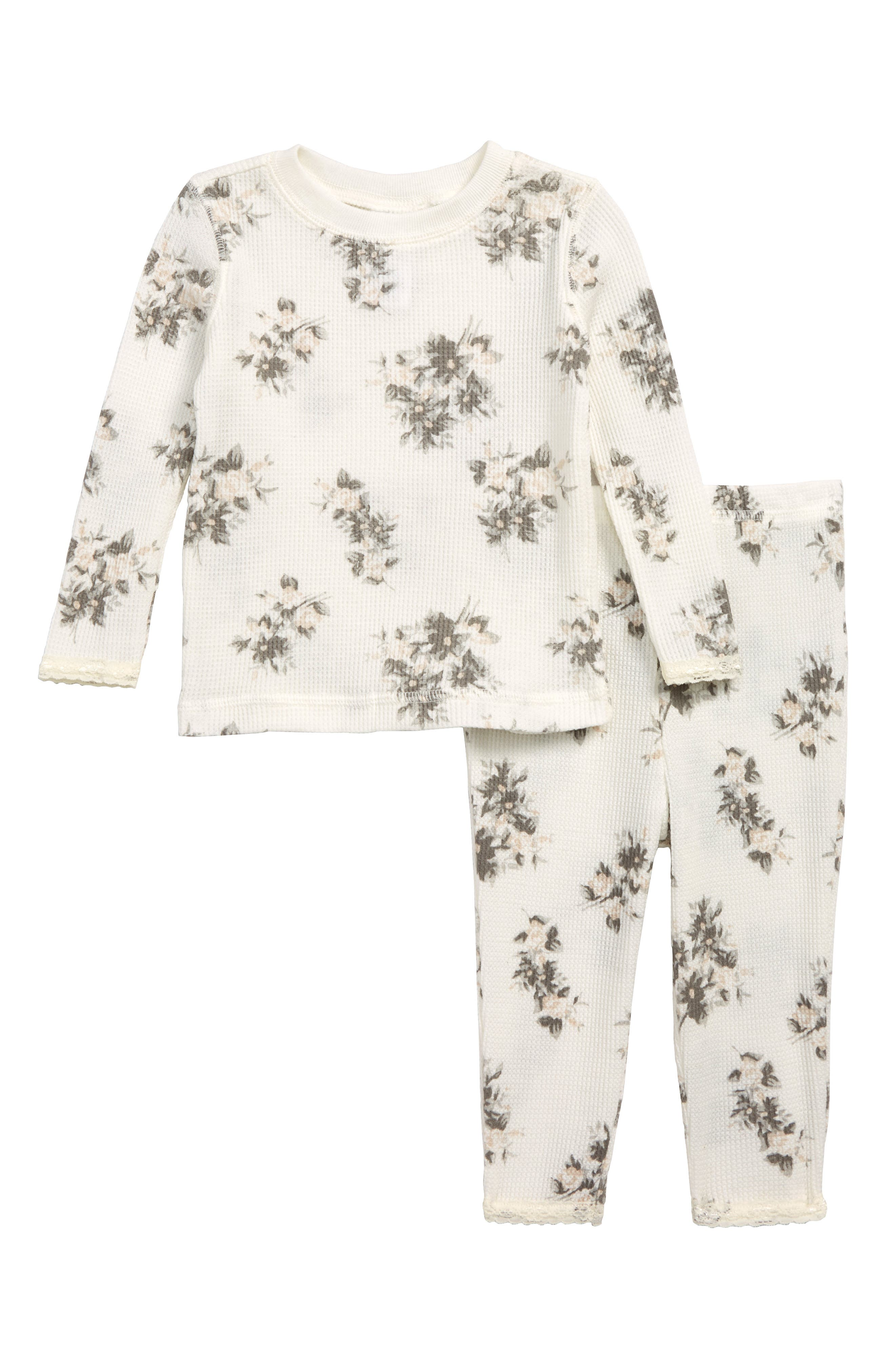 SOMETHING NAVY,                             Floral Fitted Thermal Two-Piece Pajamas,                             Main thumbnail 1, color,                             900