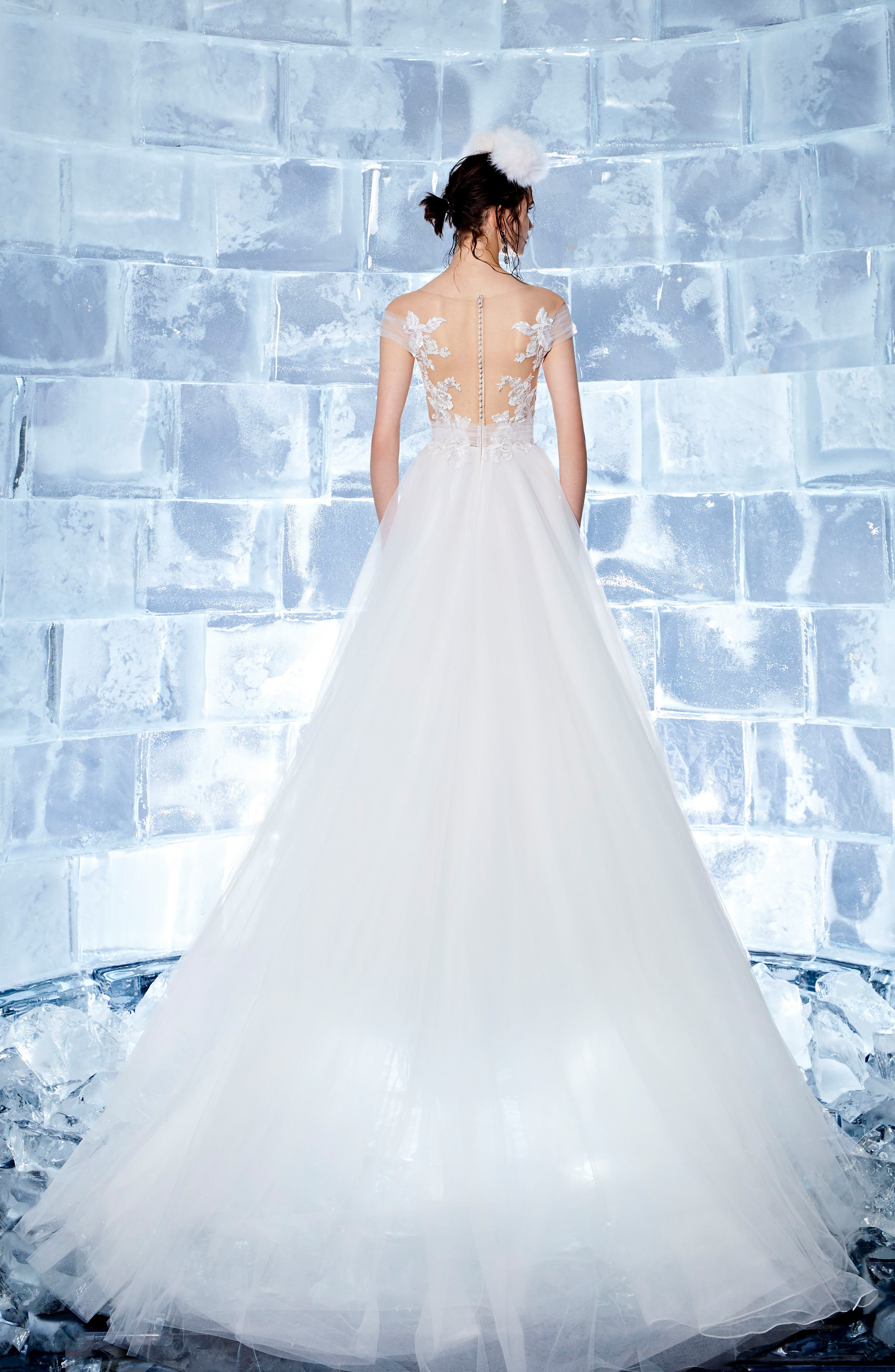 Neive Off the Shoulder Ballgown,                             Alternate thumbnail 2, color,                             OFF WHITE