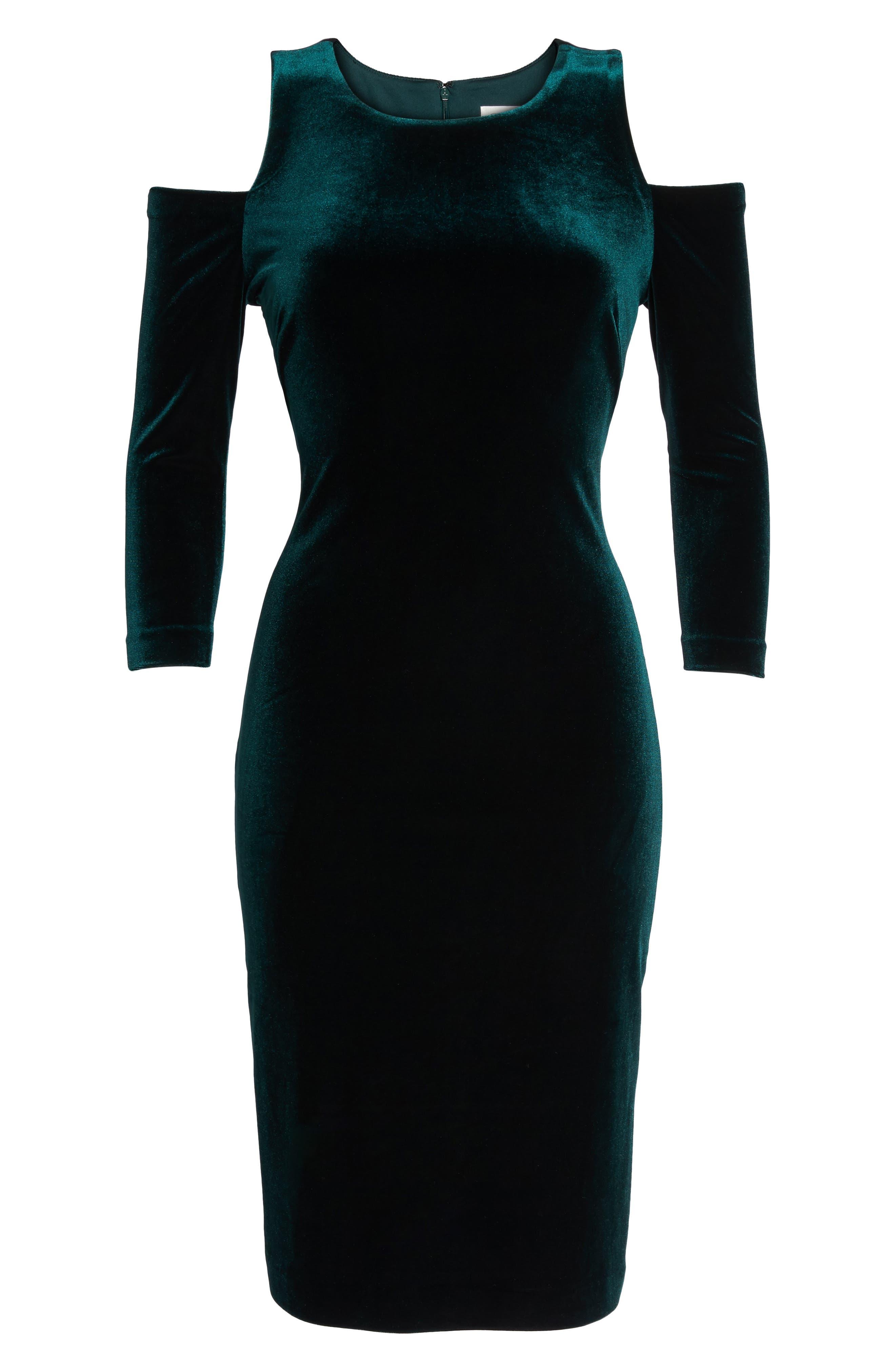 Cold Shoulder Velvet Sheath Dress,                             Alternate thumbnail 6, color,                             302