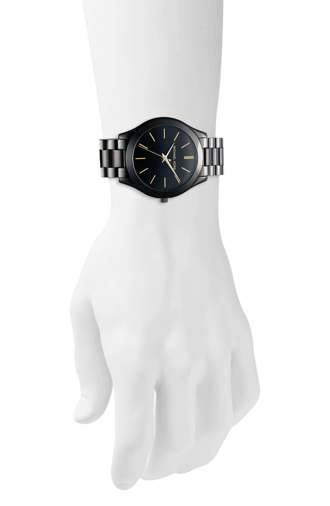 'Slim Runway' Bracelet Watch, 42mm,                             Alternate thumbnail 3, color,                             BLACK/ GOLD