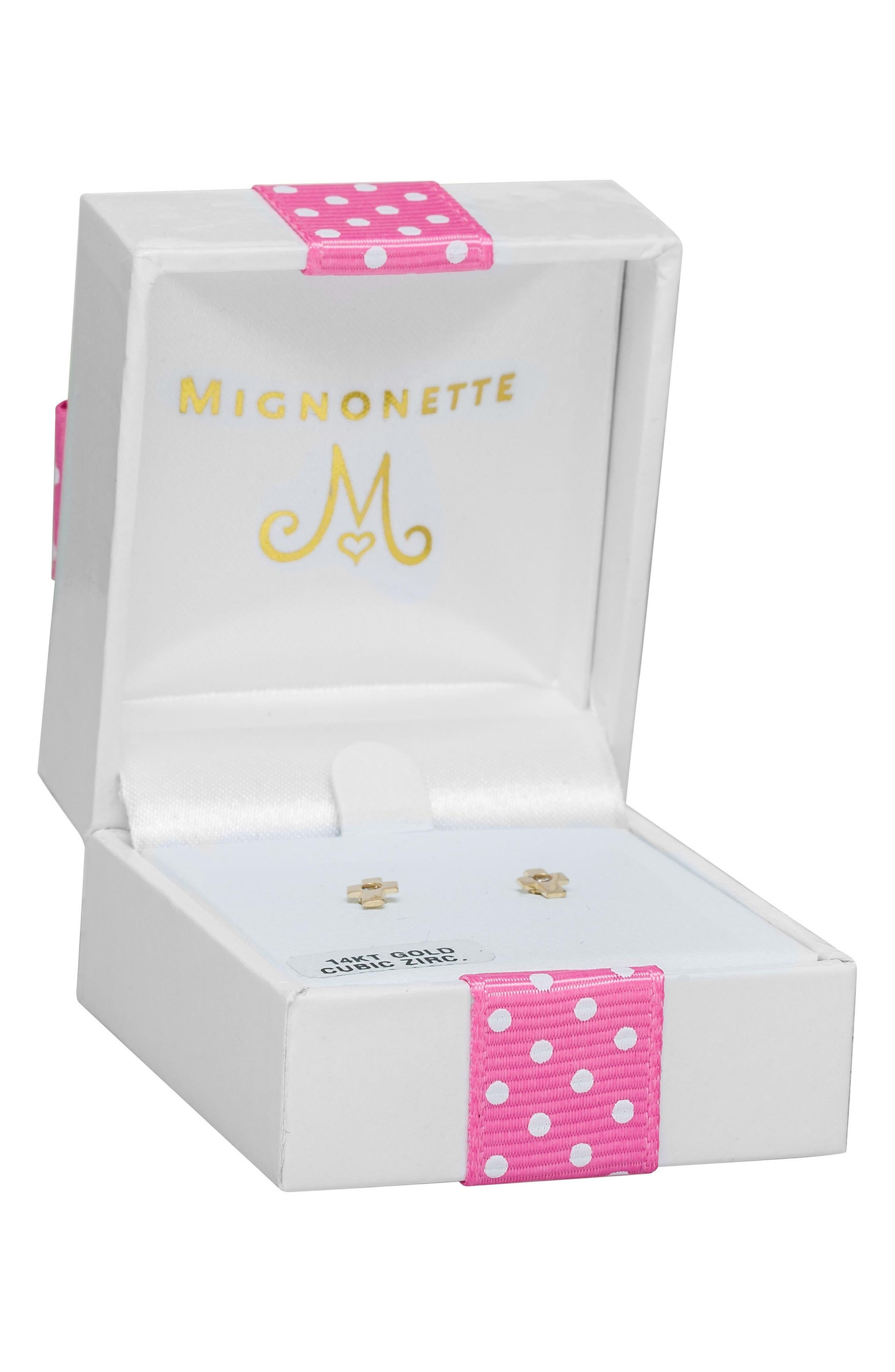 MIGNONETTE,                             14k Gold & Cubic Zirconia Cross Earrings,                             Alternate thumbnail 3, color,                             710